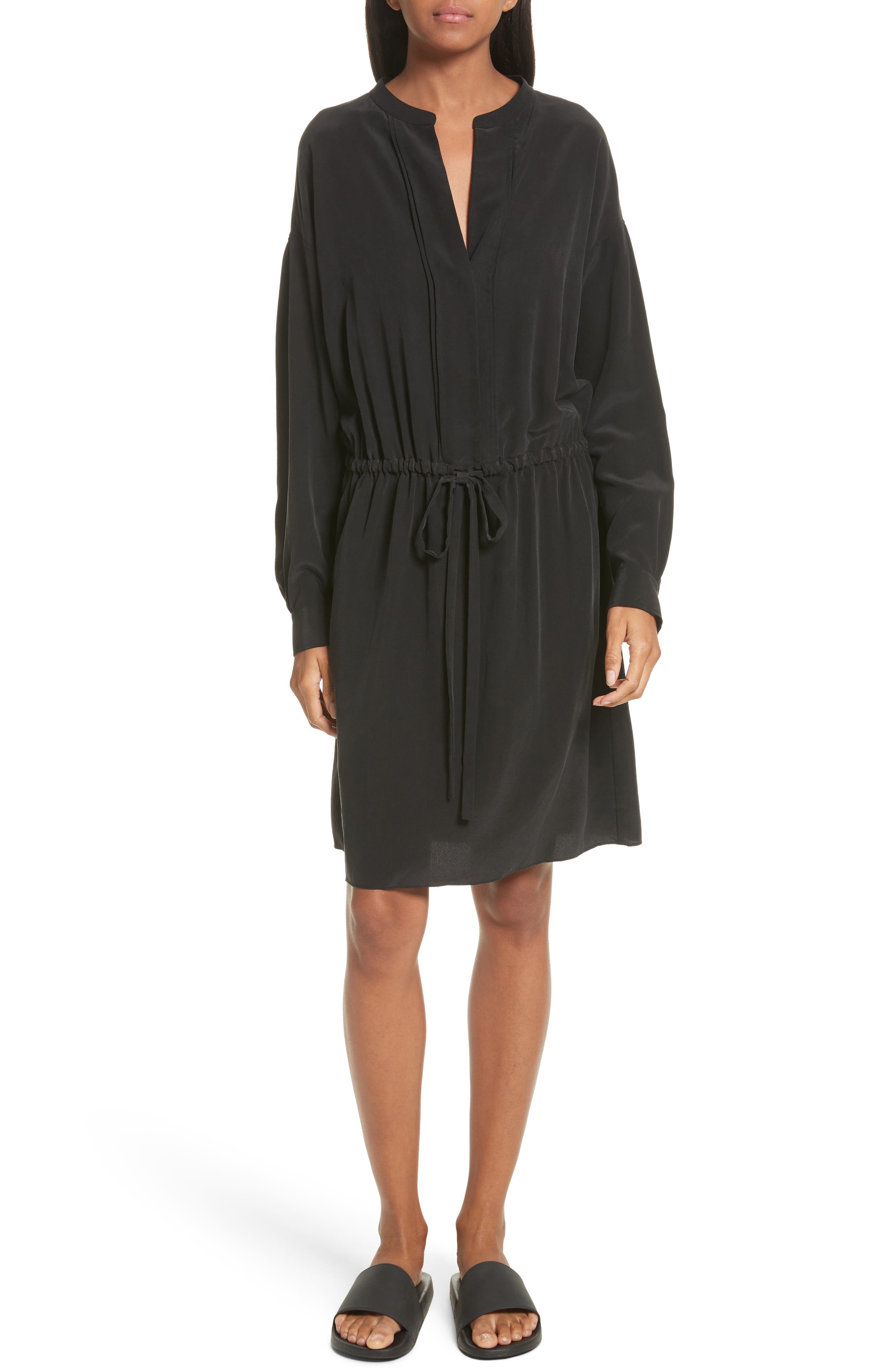 Shirred Sleeve Silk Dress,                             Main thumbnail 1, color,                             Black