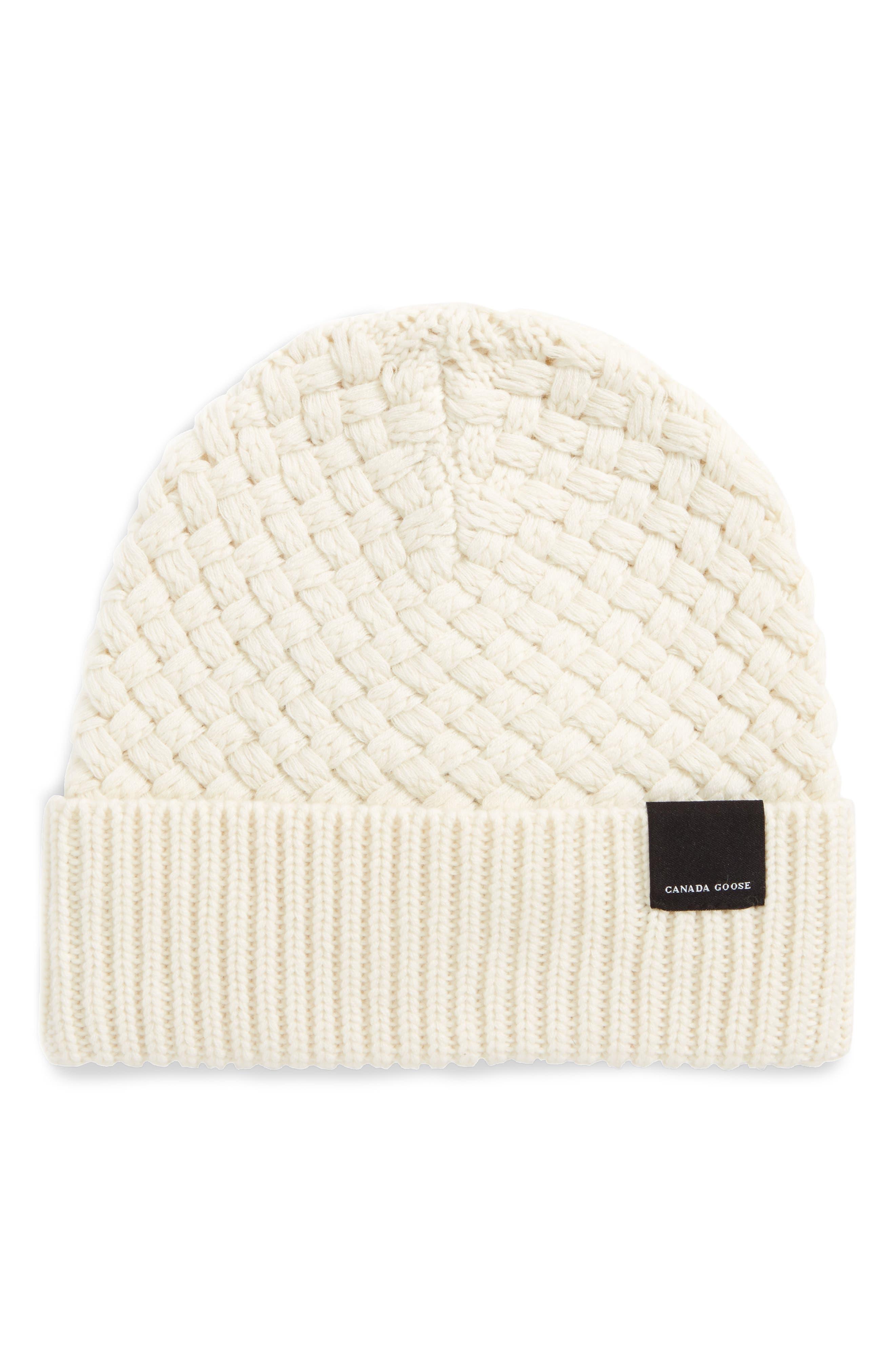 Merino Wool Basket Stitch Beanie,                             Main thumbnail 1, color,                             Ivory