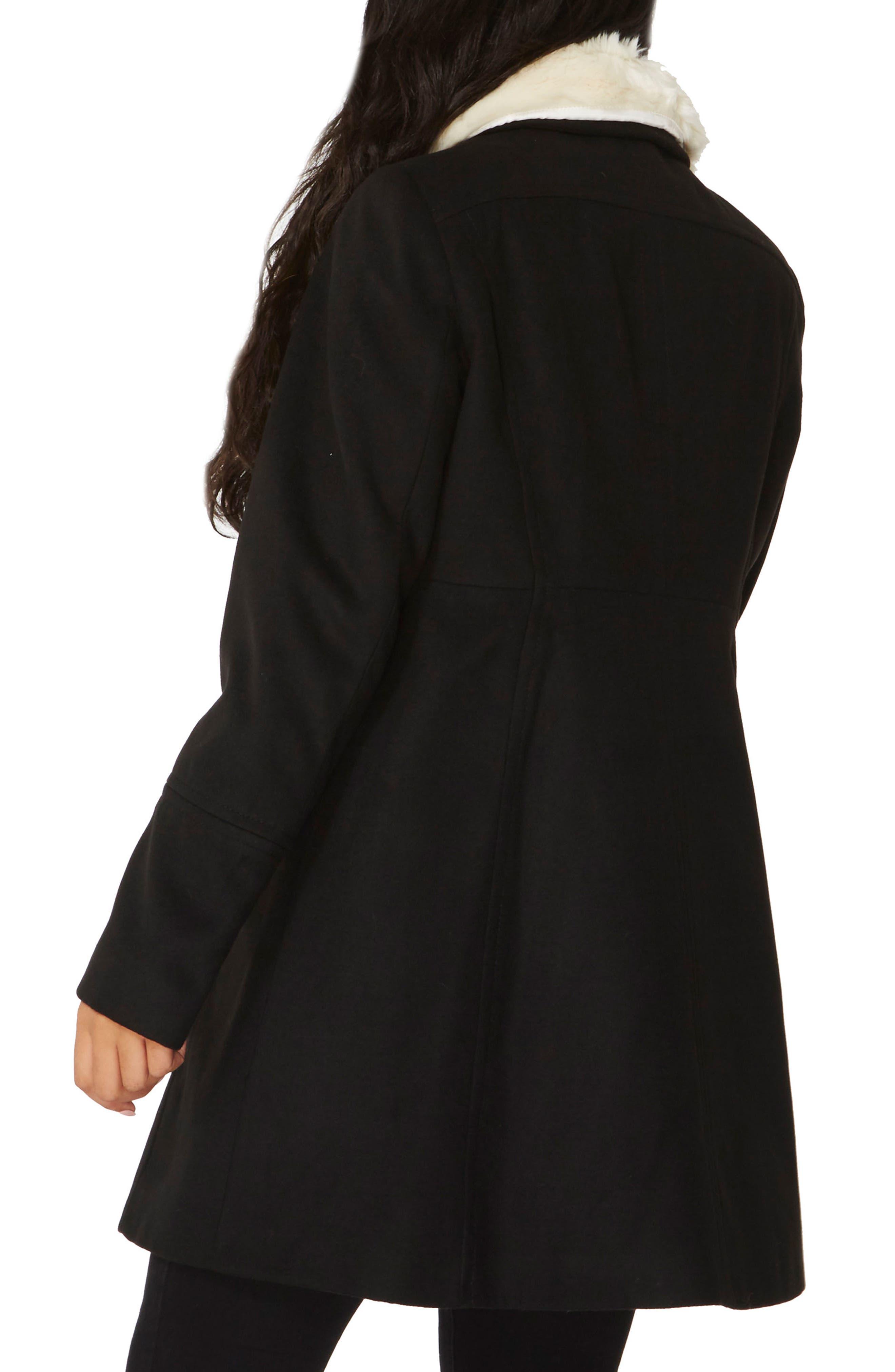 Fit & Flare Peacoat with Removable Faux Fur Trim,                             Alternate thumbnail 3, color,                             Black