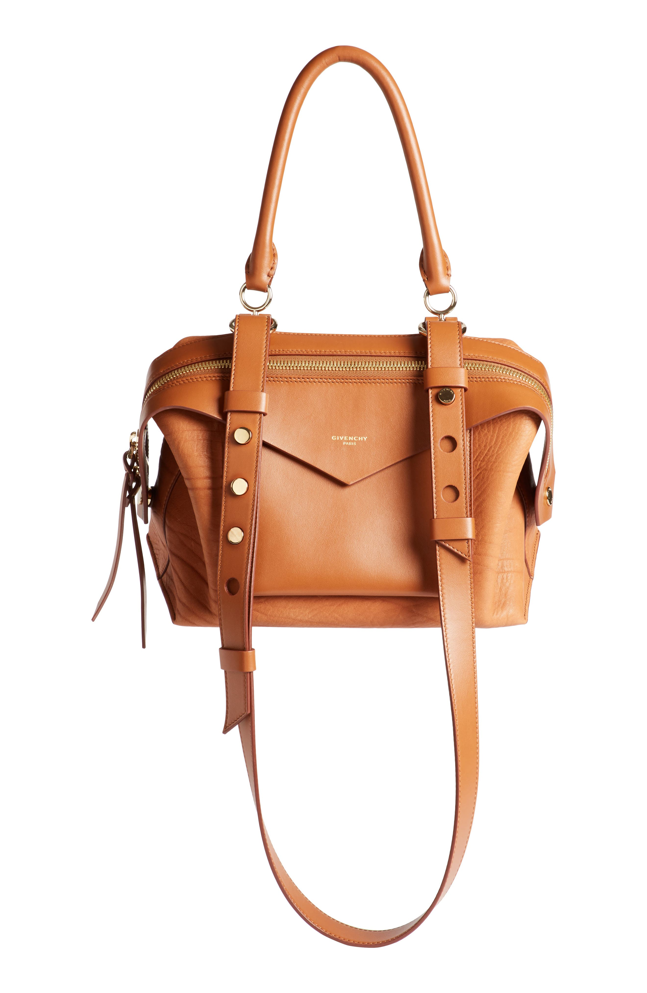 Small Sway Leather Satchel,                         Main,                         color, Cognac