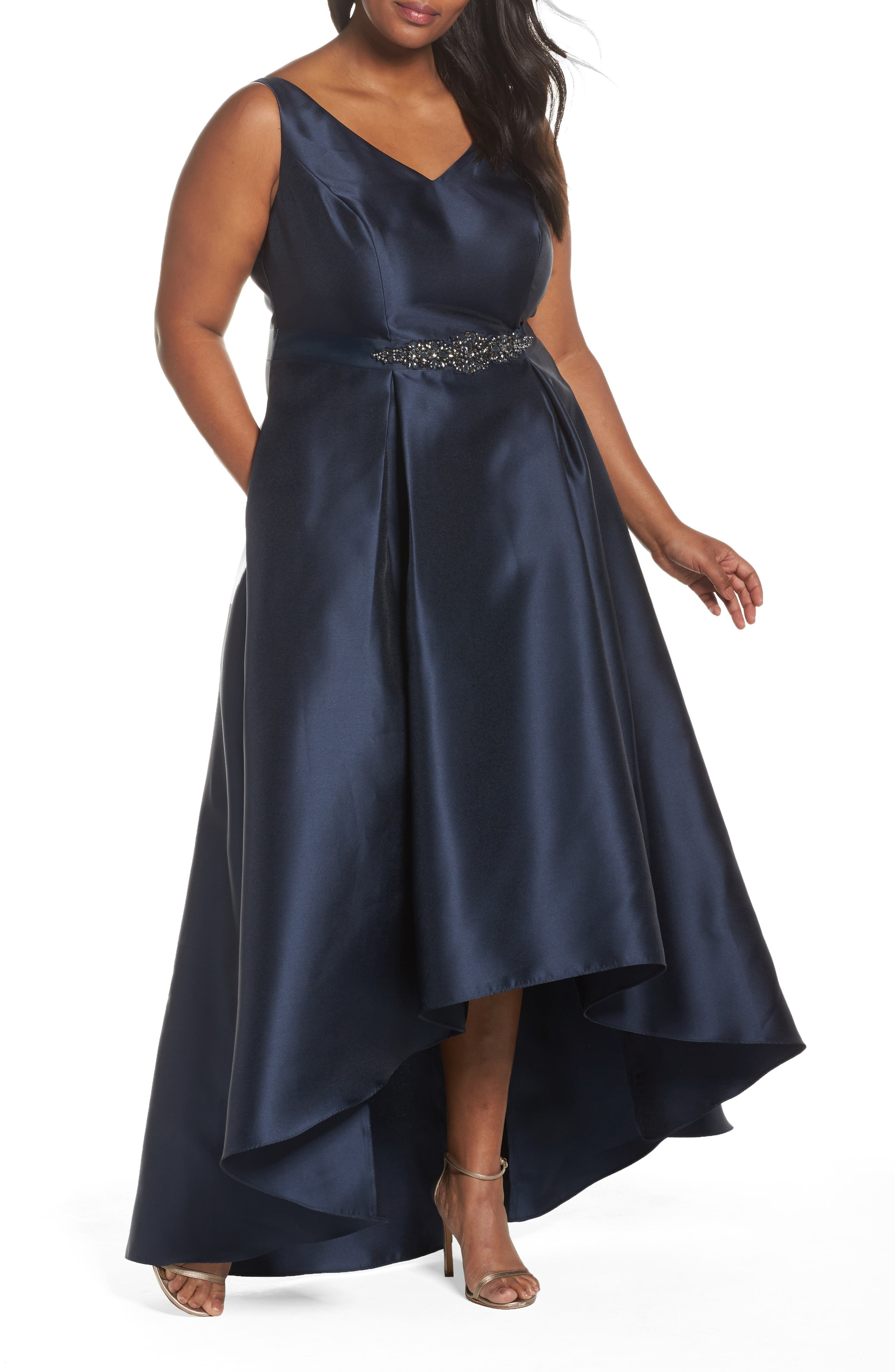 Adrianna Papell V-Neck High/Low Mikado Ballgown (Plus Size)