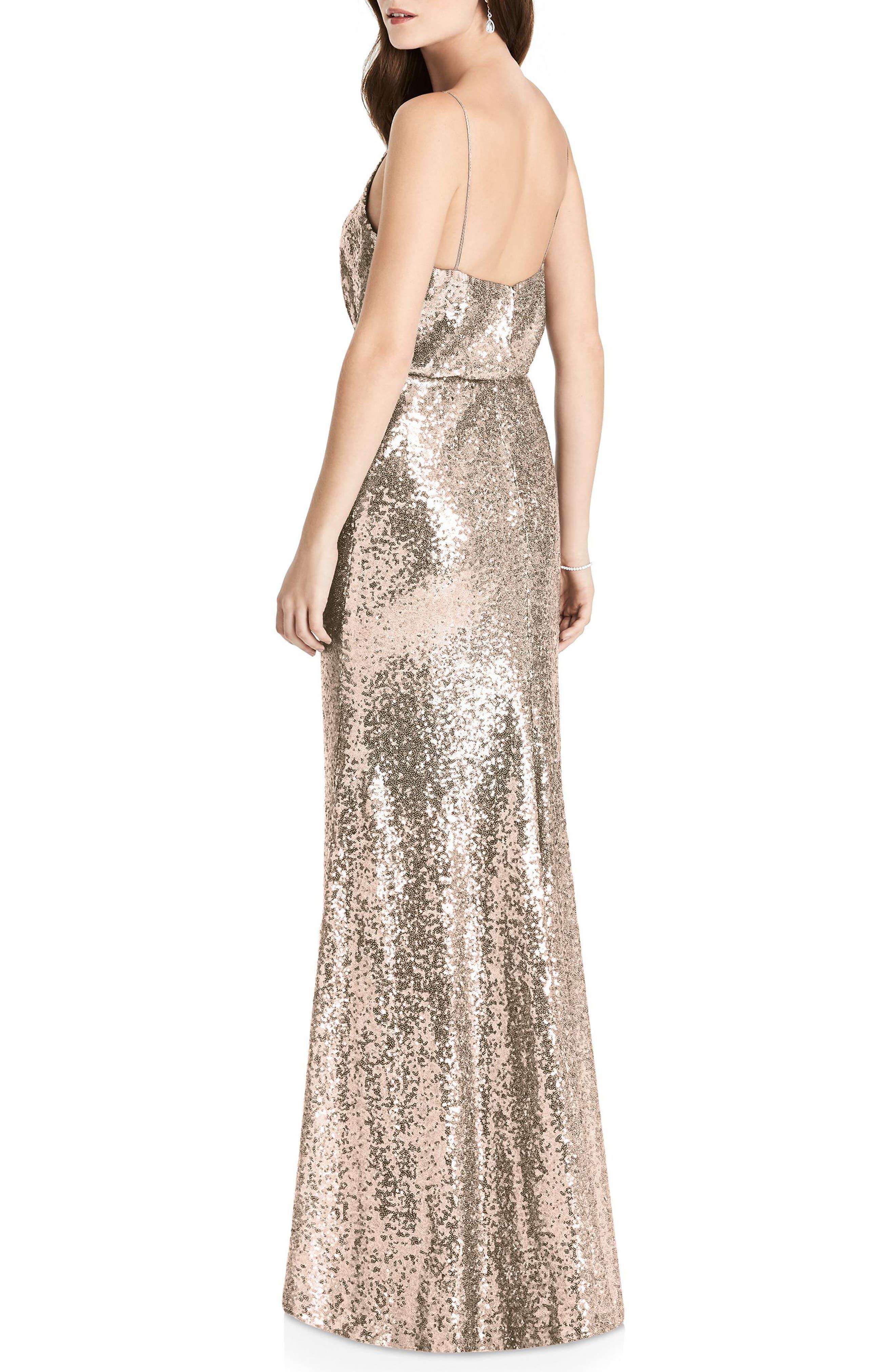 Sequin Blouson Gown,                             Alternate thumbnail 2, color,                             Rose Gold