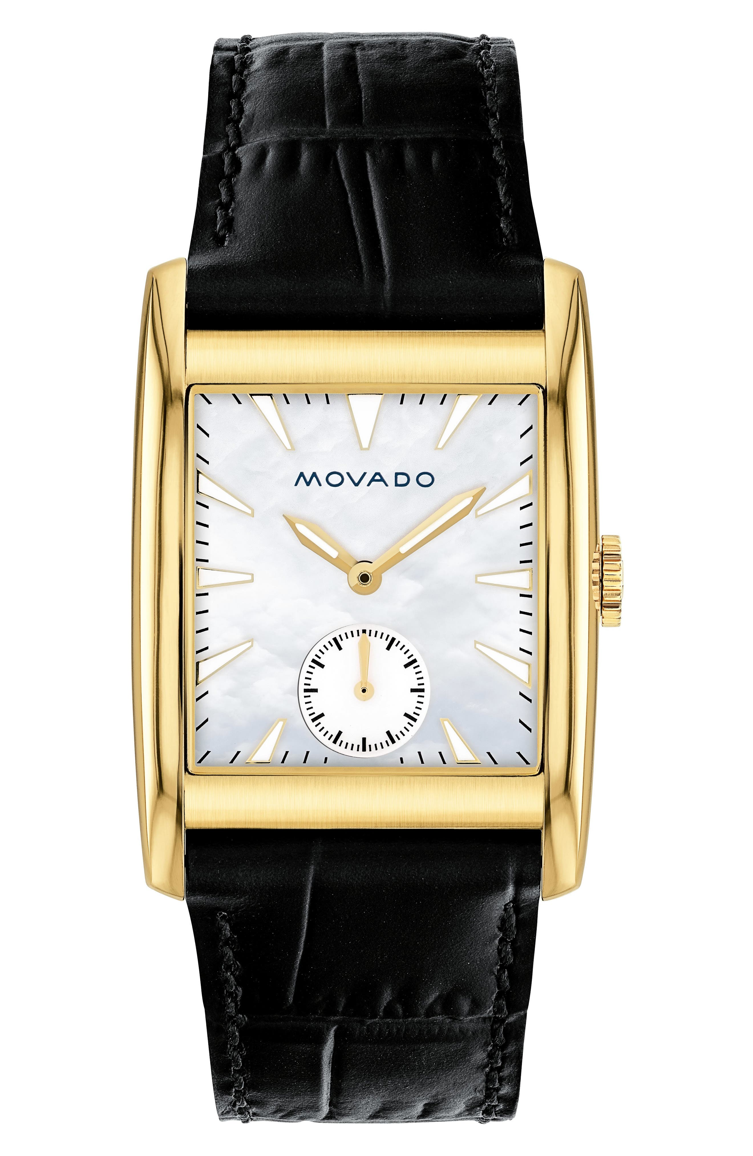Heritage Leather Strap Watch, 38mm,                         Main,                         color, Black/ Mop/ Gold