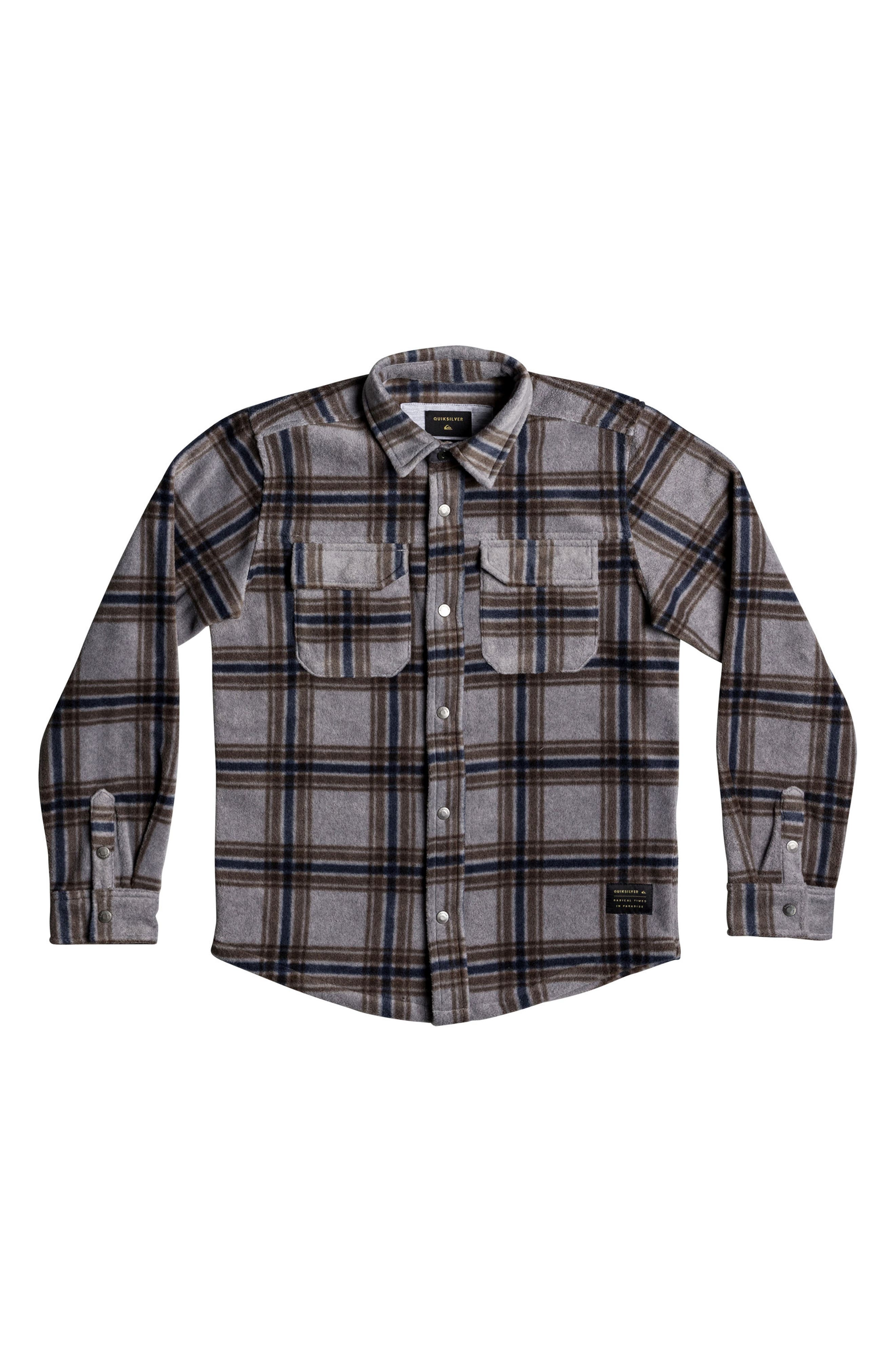 Surf Days Plaid Shirt,                             Main thumbnail 1, color,                             Medium Grey Heather Check