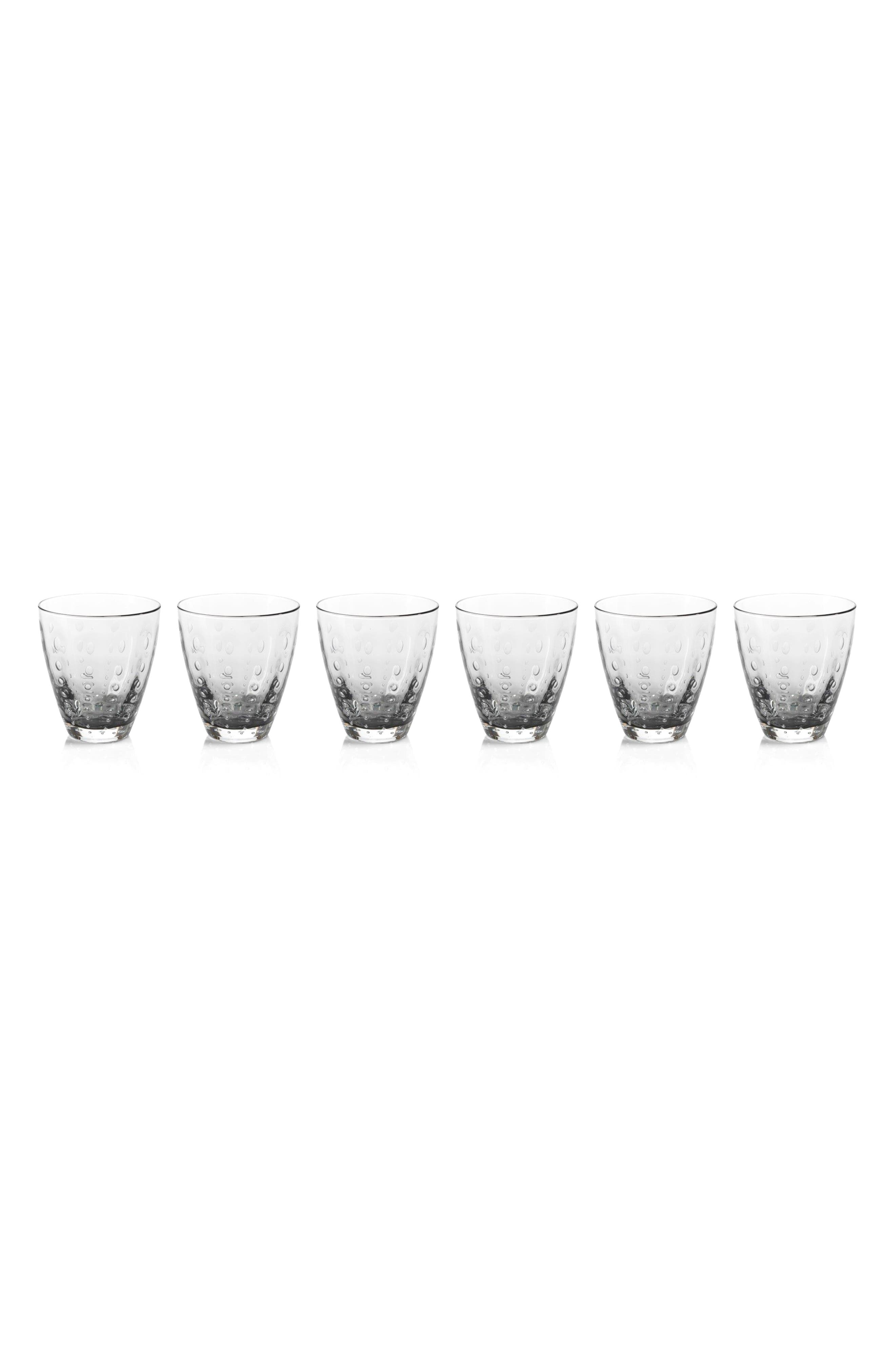 Bubbled Set of 6 Double Old Fashioned Glasses,                         Main,                         color, Clear