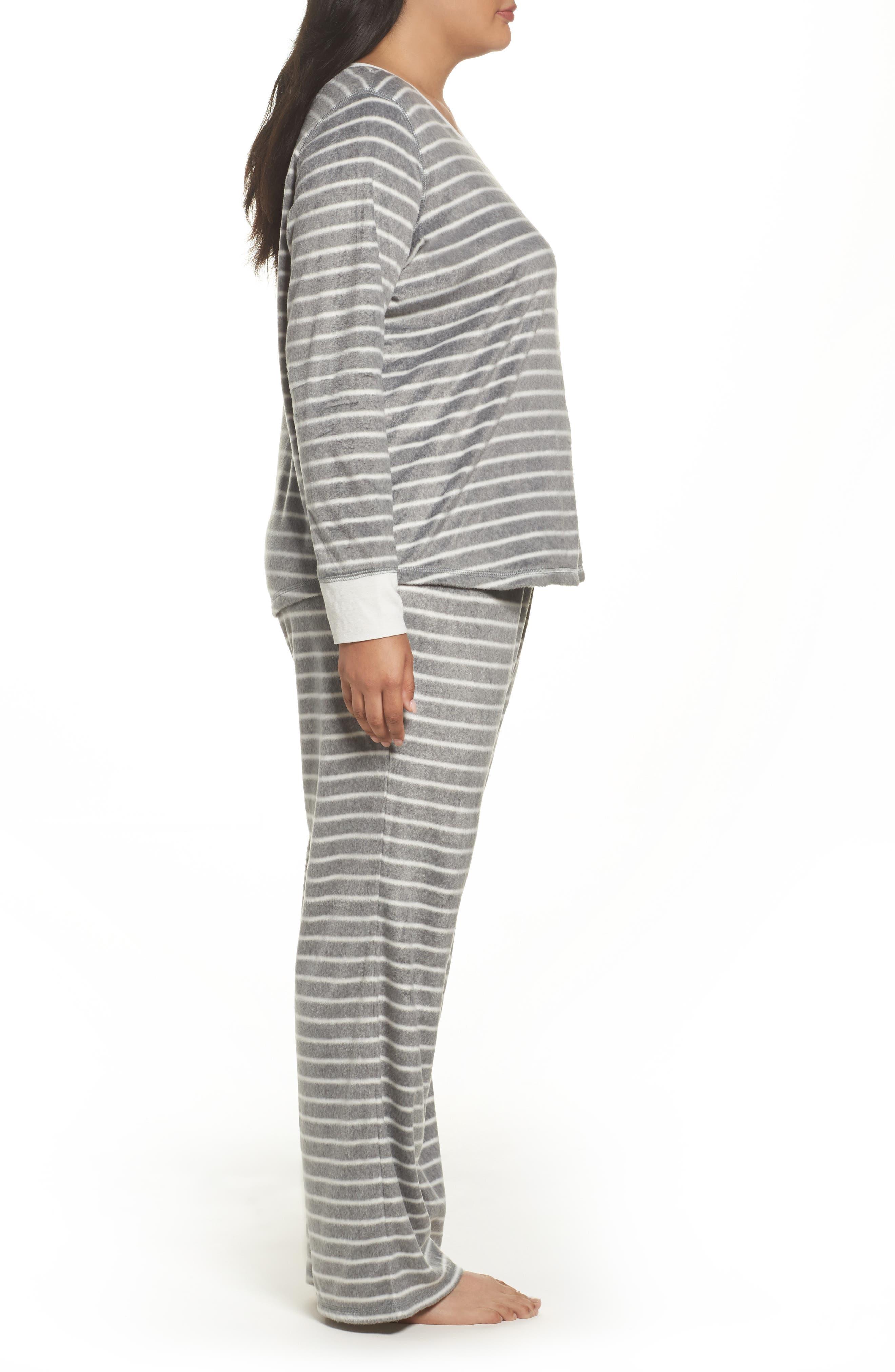 Polar Fleece Pajamas,                             Alternate thumbnail 3, color,                             Heather Grey