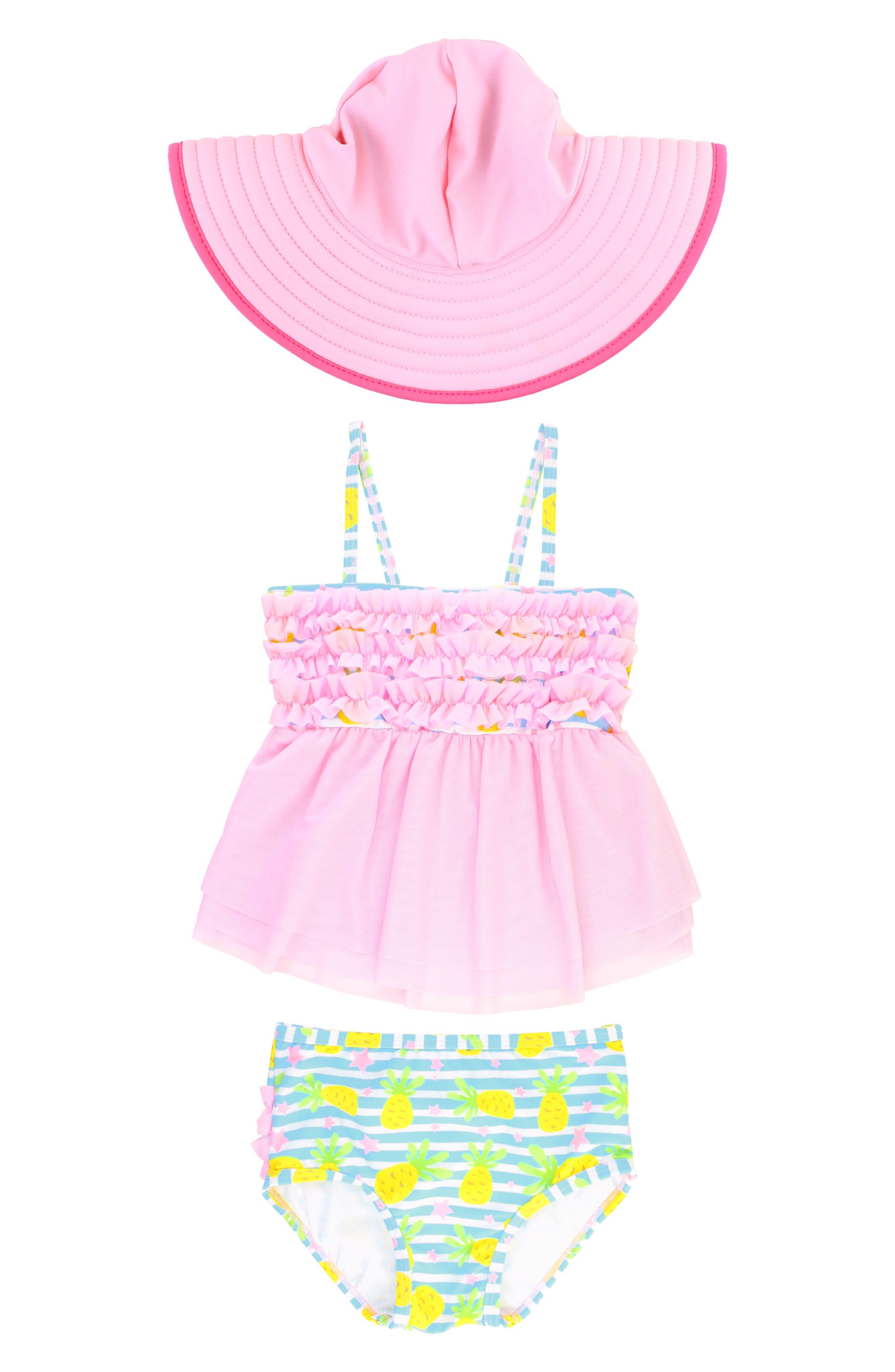 RuffleButts Paradise Mesh Two-Piece Swimsuit & Hat Set (Toddler Girls)