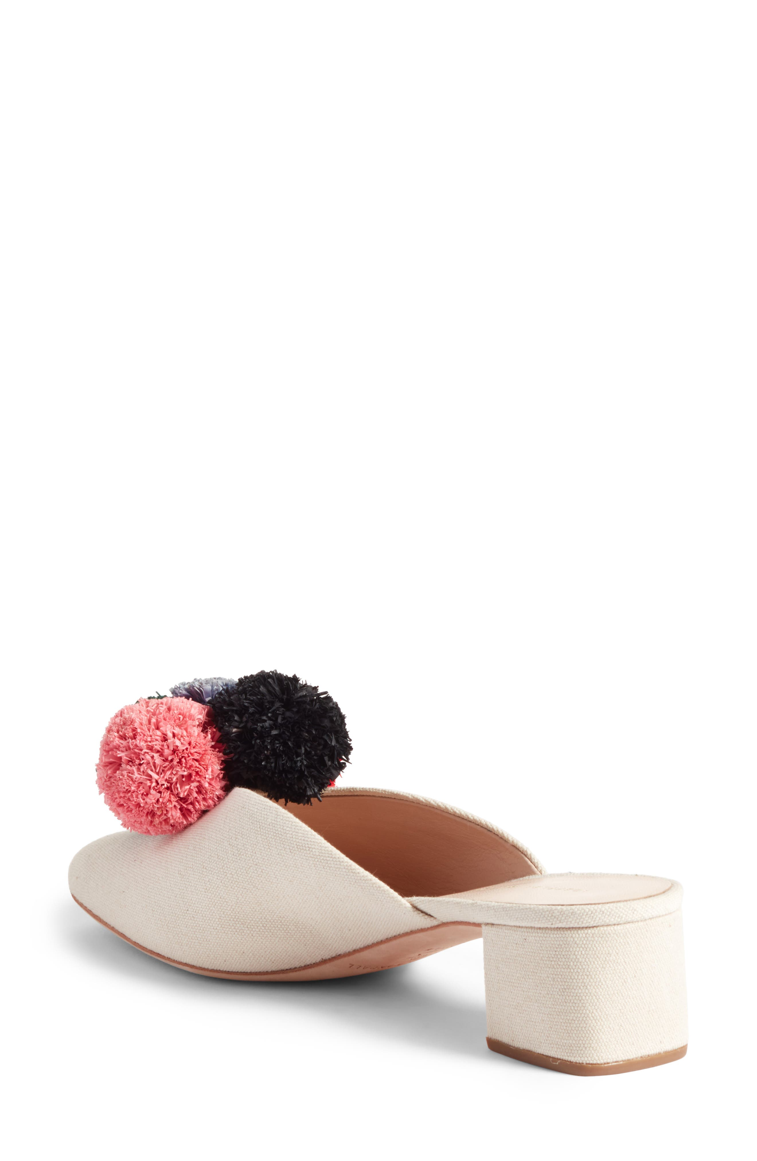 Lulu Pom Block Heel Mule,                             Alternate thumbnail 2, color,                             Natural/ Multi