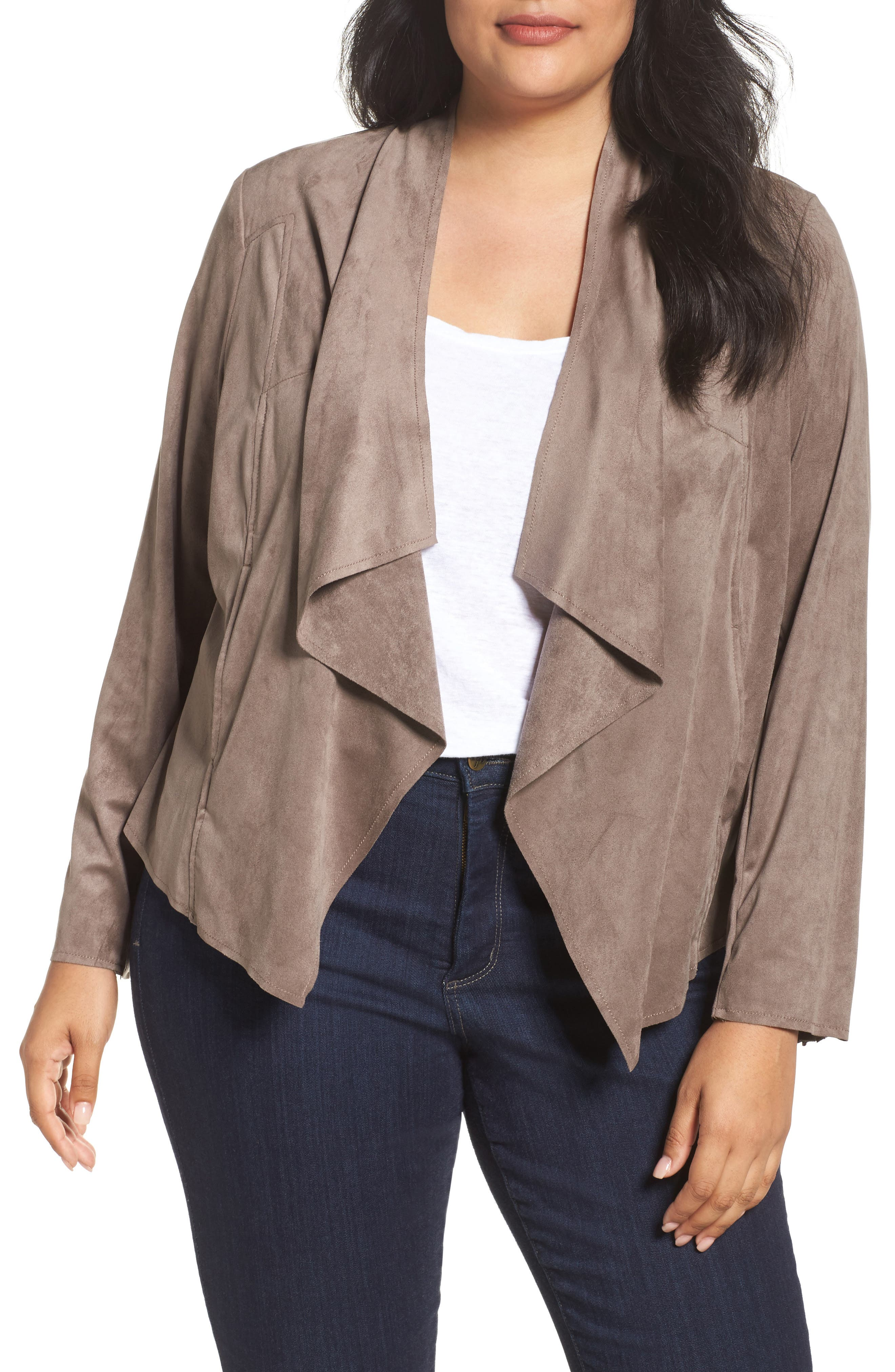 Main Image - KUT from the Kloth Drape Front Faux Suede Jacket (Plus Size)