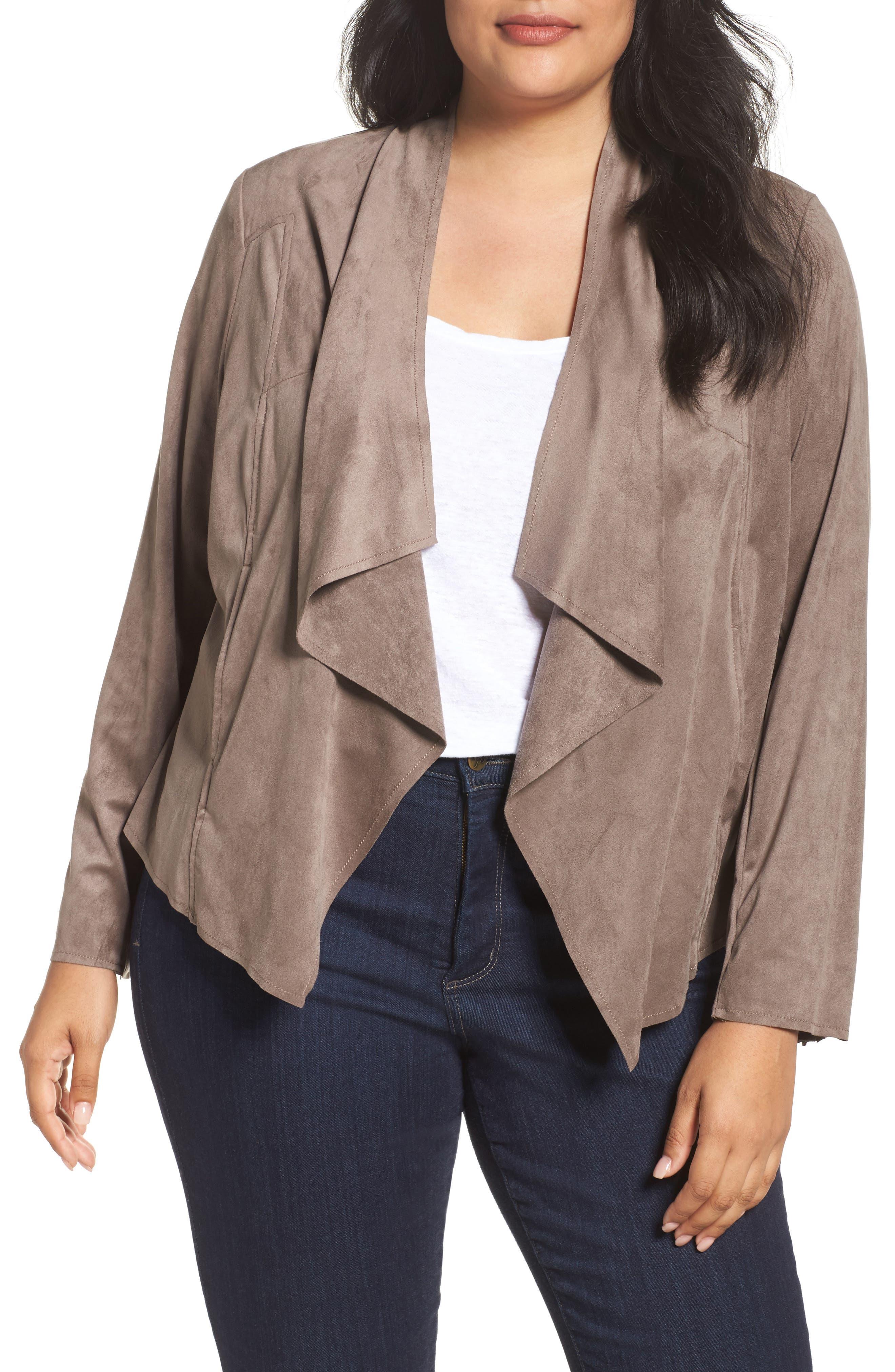 Drape Front Faux Suede Jacket,                         Main,                         color, Buff