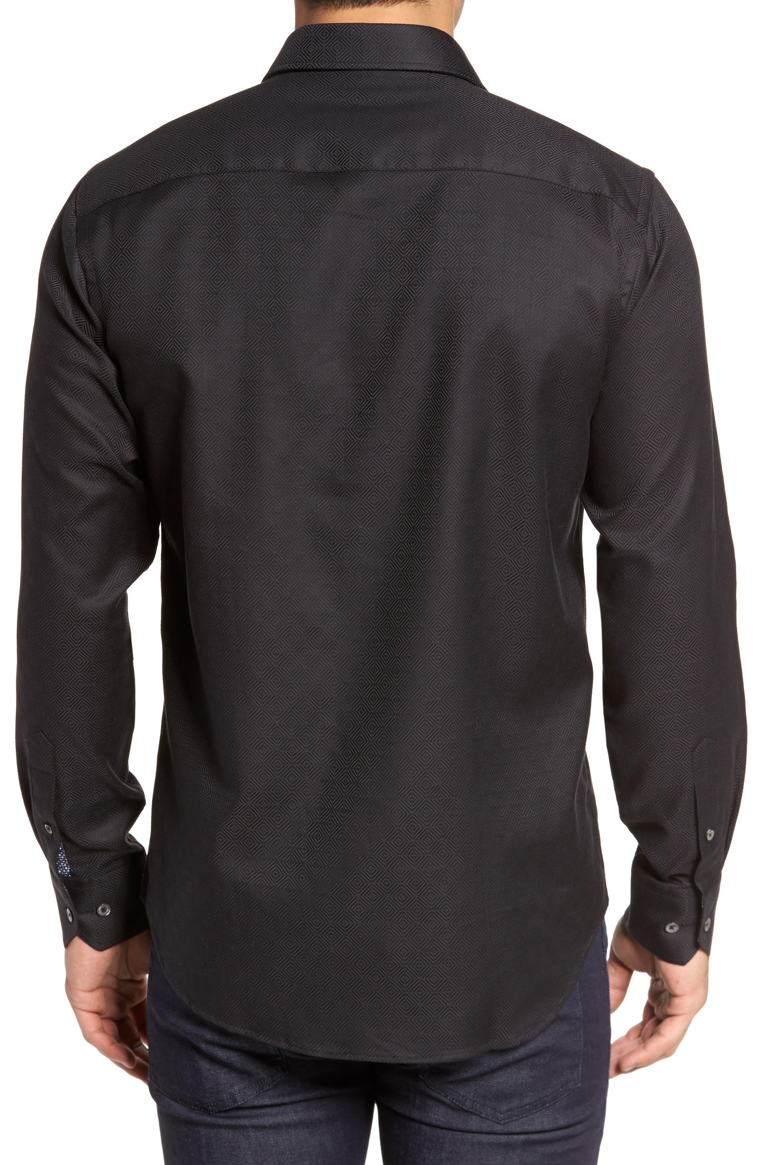 Slim Fit Diamond Jacquard Sport Shirt,                             Alternate thumbnail 2, color,                             Black