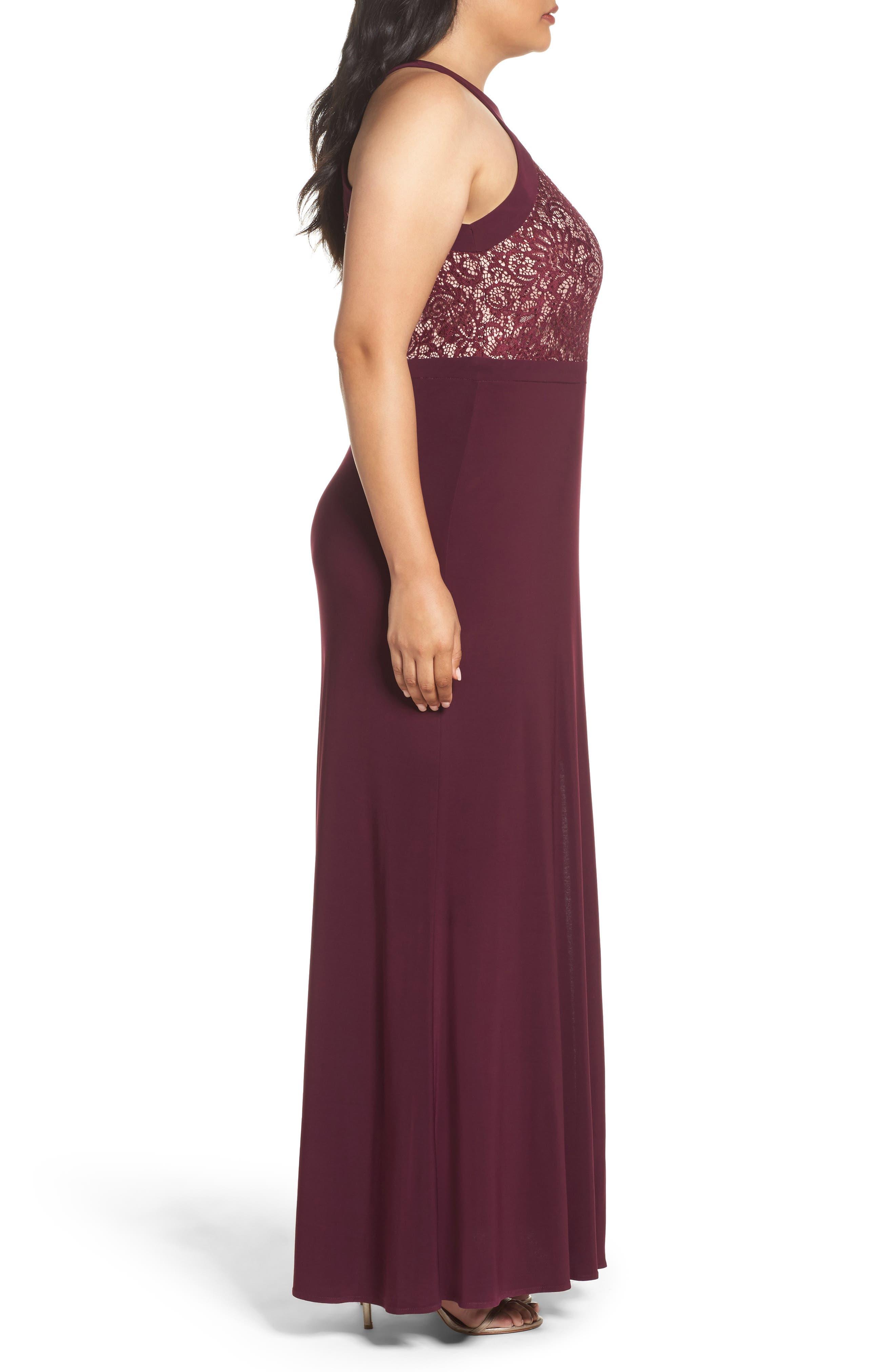 Lace Bodice Dress,                             Alternate thumbnail 3, color,                             Merlot/ Nude