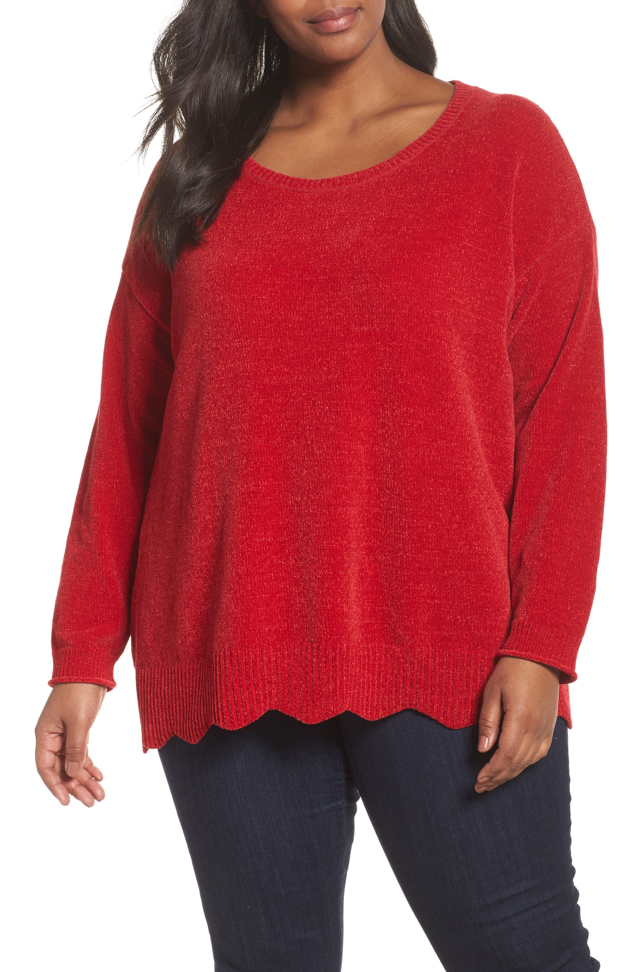 Scallop Hem Sweater,                         Main,                         color, Red Sage