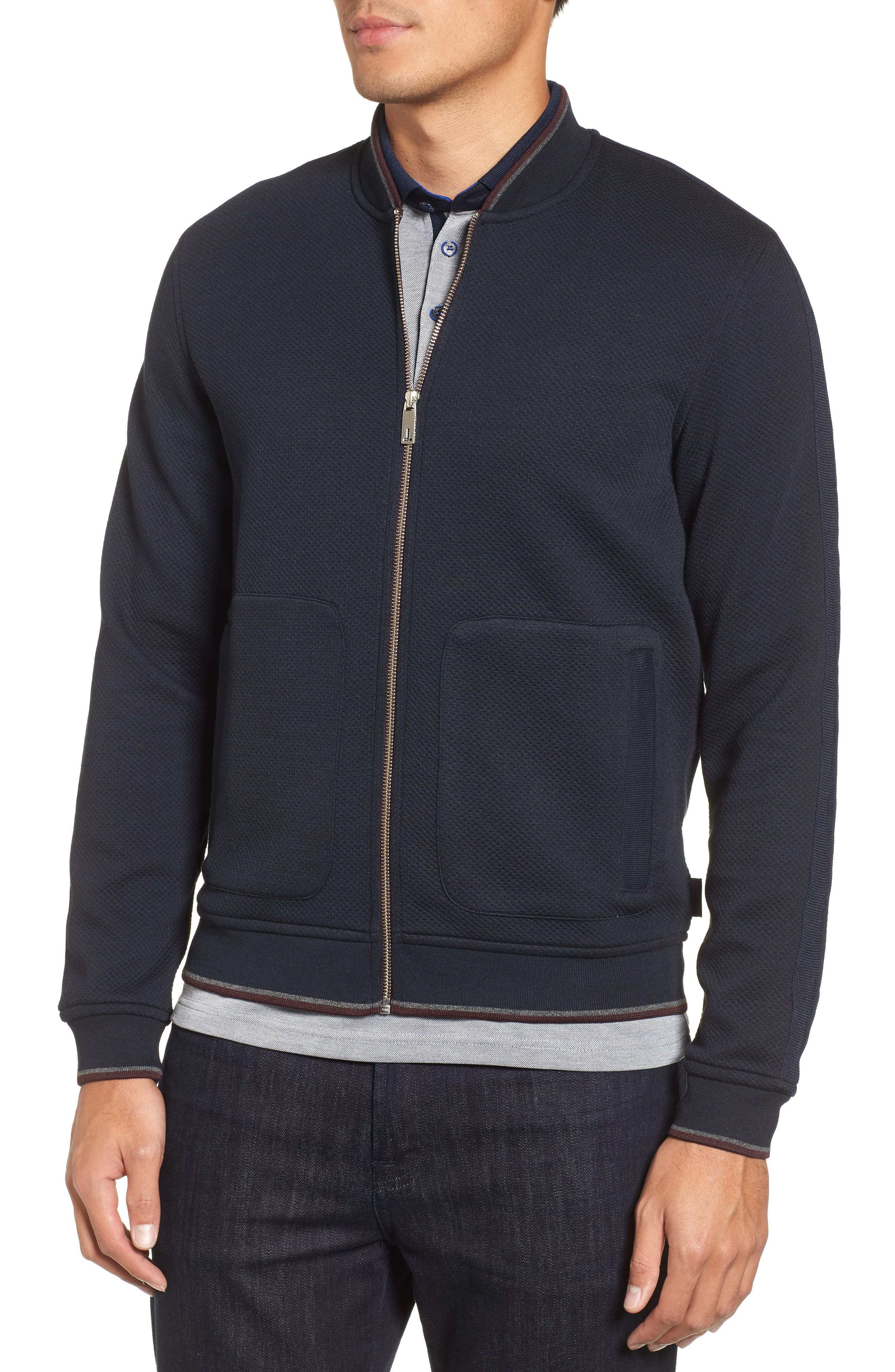 Whatts Trim Fit Textured Bomber Jacket,                             Alternate thumbnail 4, color,                             Navy