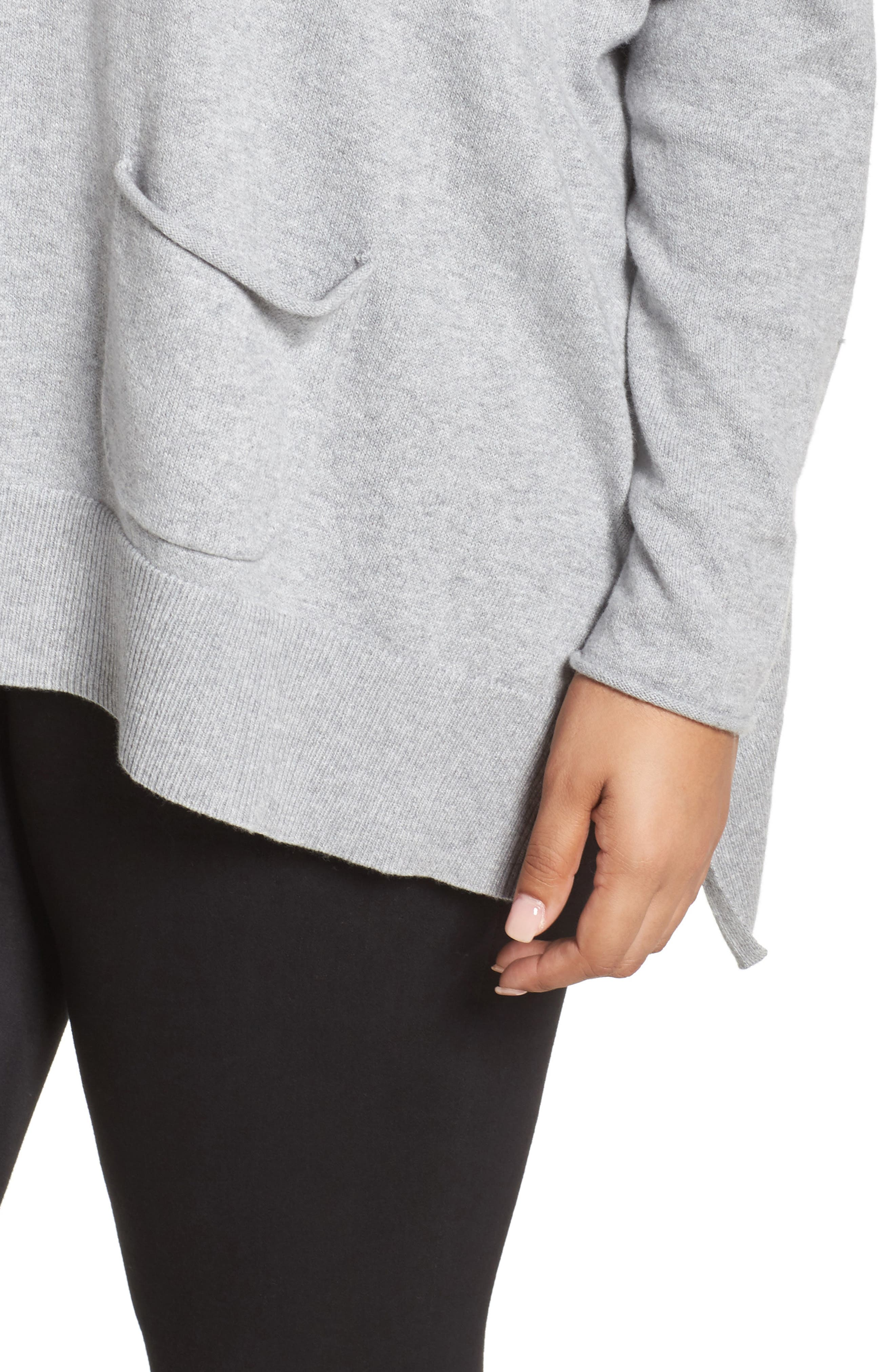 Relaxed Cotton & Cashmere Sweater,                             Alternate thumbnail 4, color,                             Grey Heather
