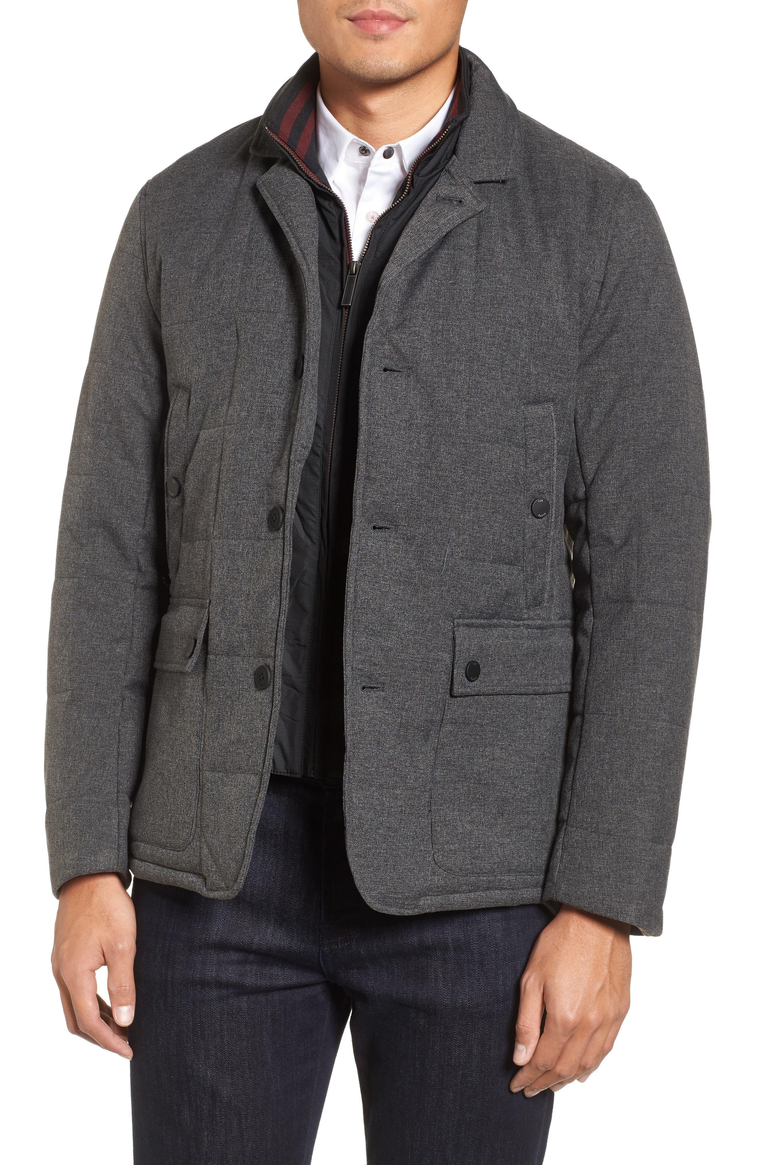 Jaycie Inset Bib Quilted Jacket,                         Main,                         color, Grey