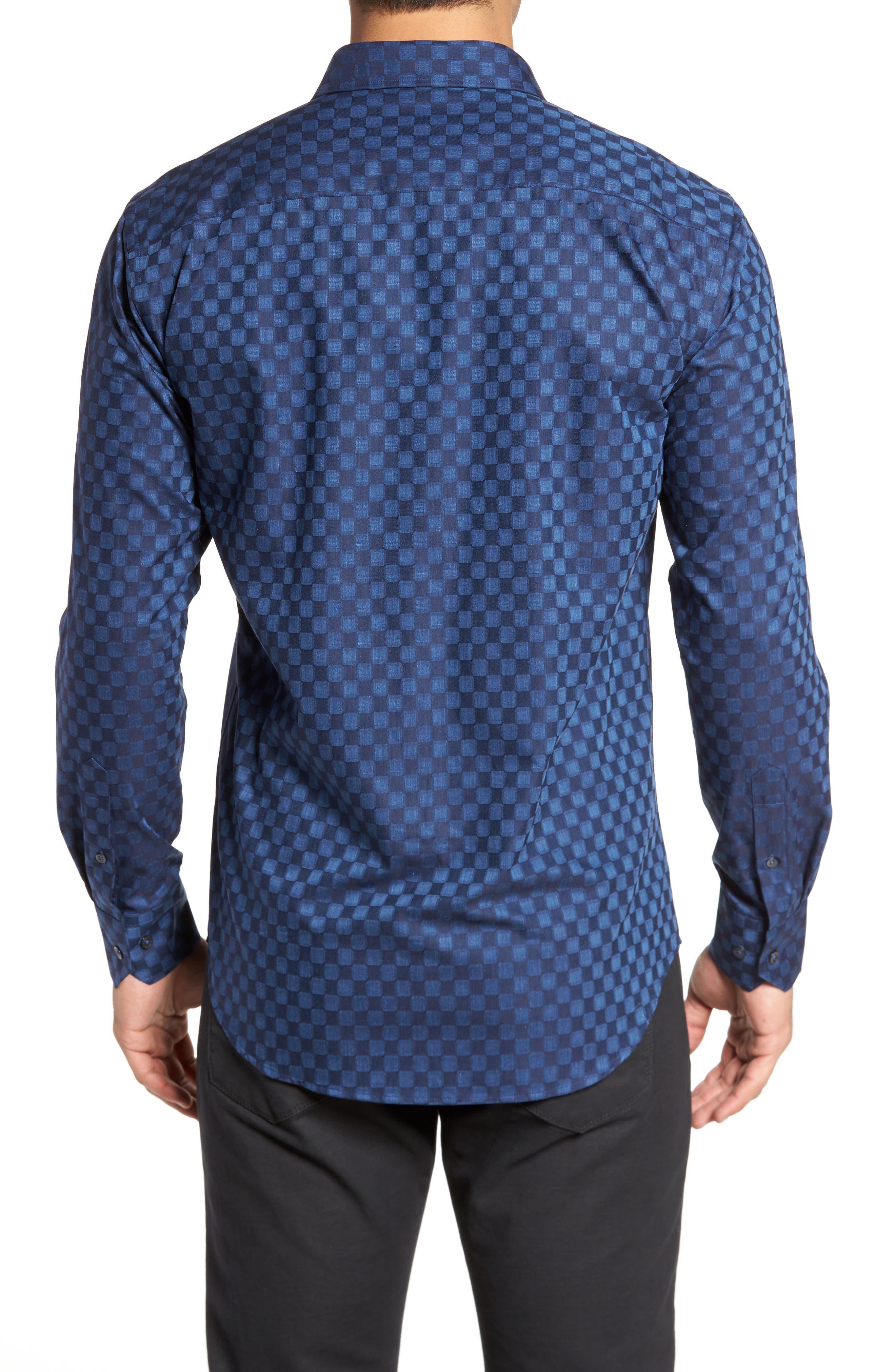 Alternate Image 2  - Bugatchi Slim Fit Square Jacquard Sport Shirt