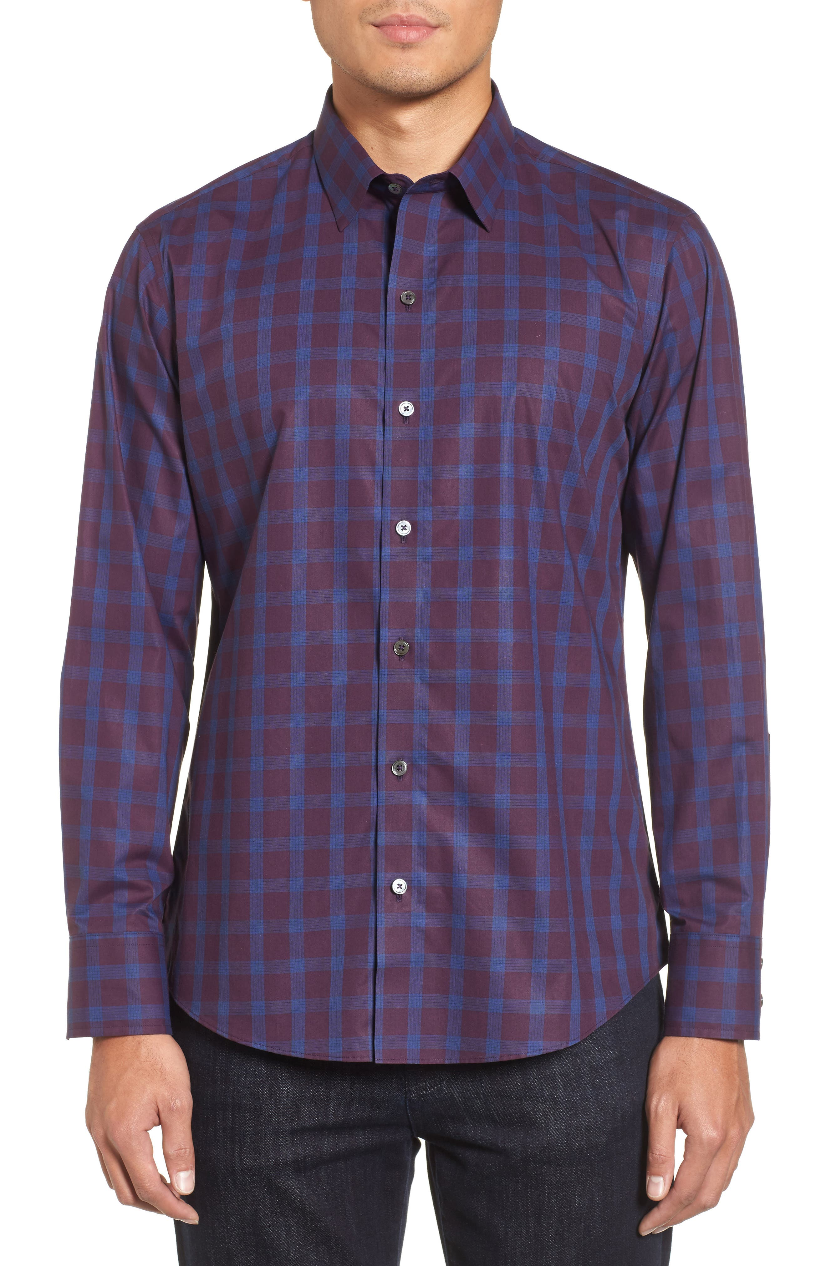 Raymond Check Sport Shirt,                             Main thumbnail 1, color,                             Burgundy