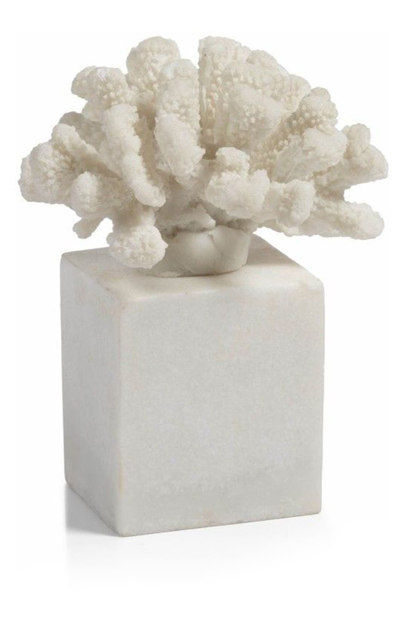 Morgana Square Base Coral Sculpture,                         Main,                         color, White