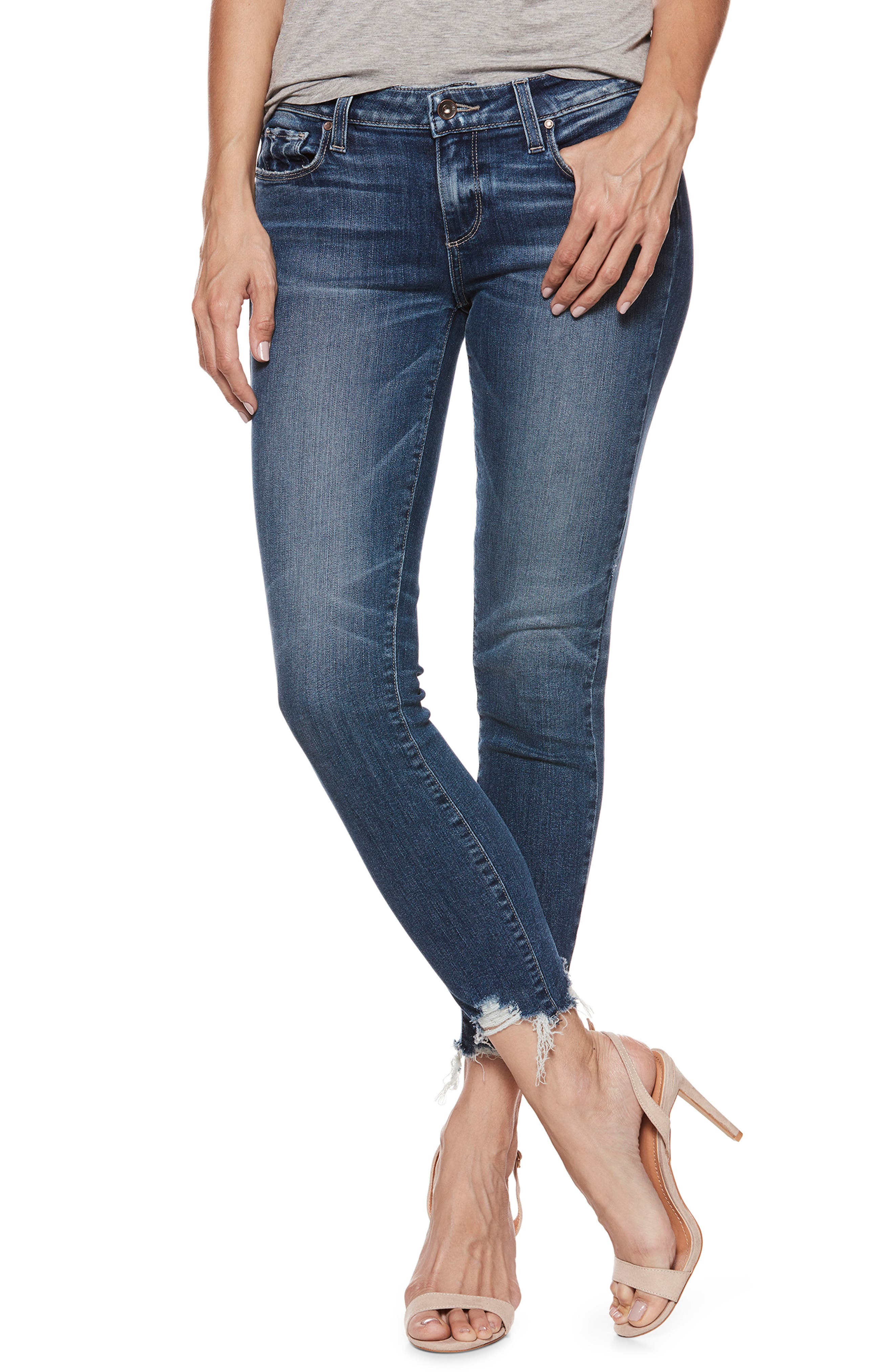 Transcend Vintage - Verdugo Ankle Skinny Jeans,                             Main thumbnail 1, color,                             Malibu Super Distressed