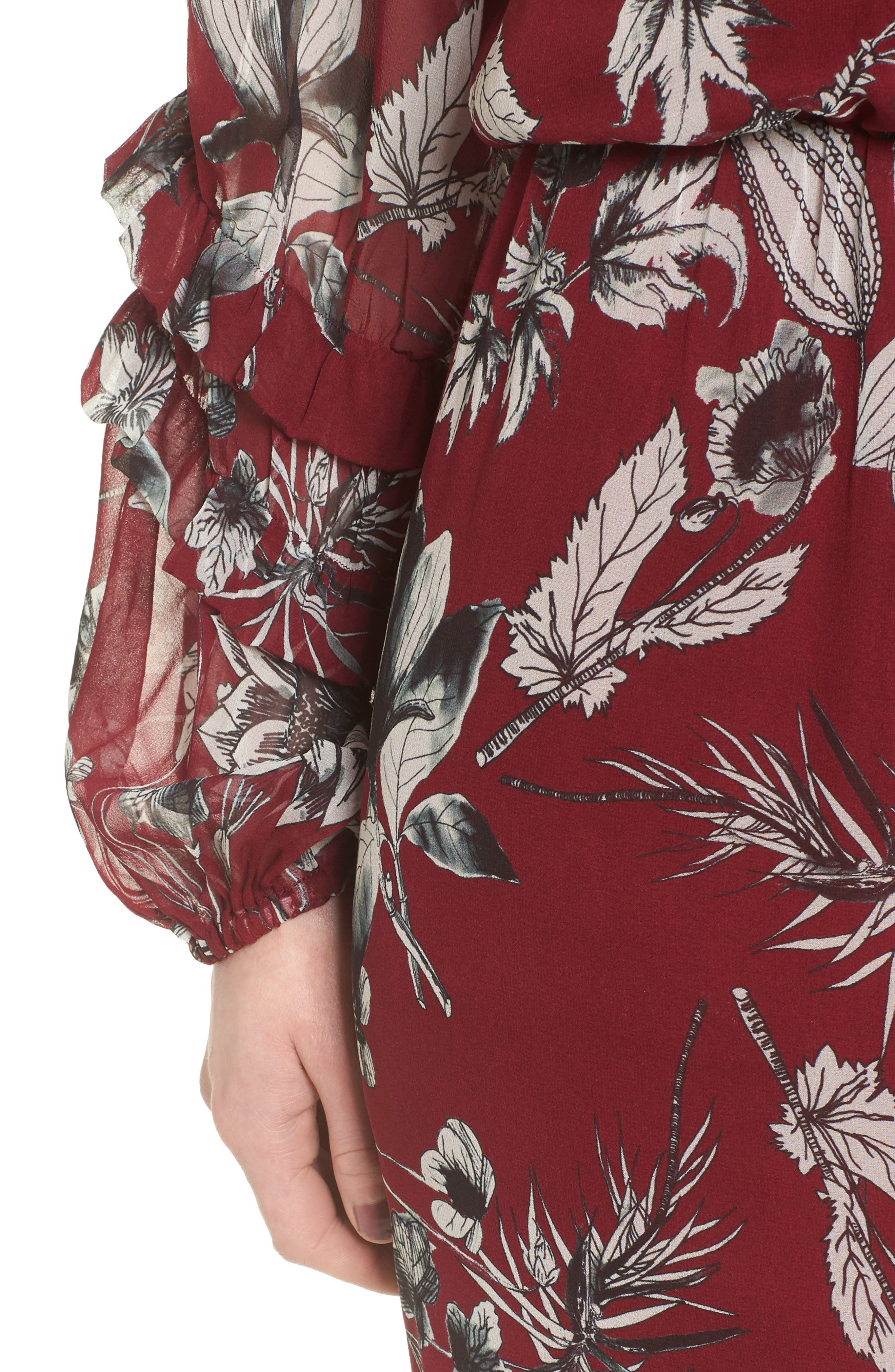 Nicole Silk Blouson Dress,                             Alternate thumbnail 4, color,                             Red Rooted