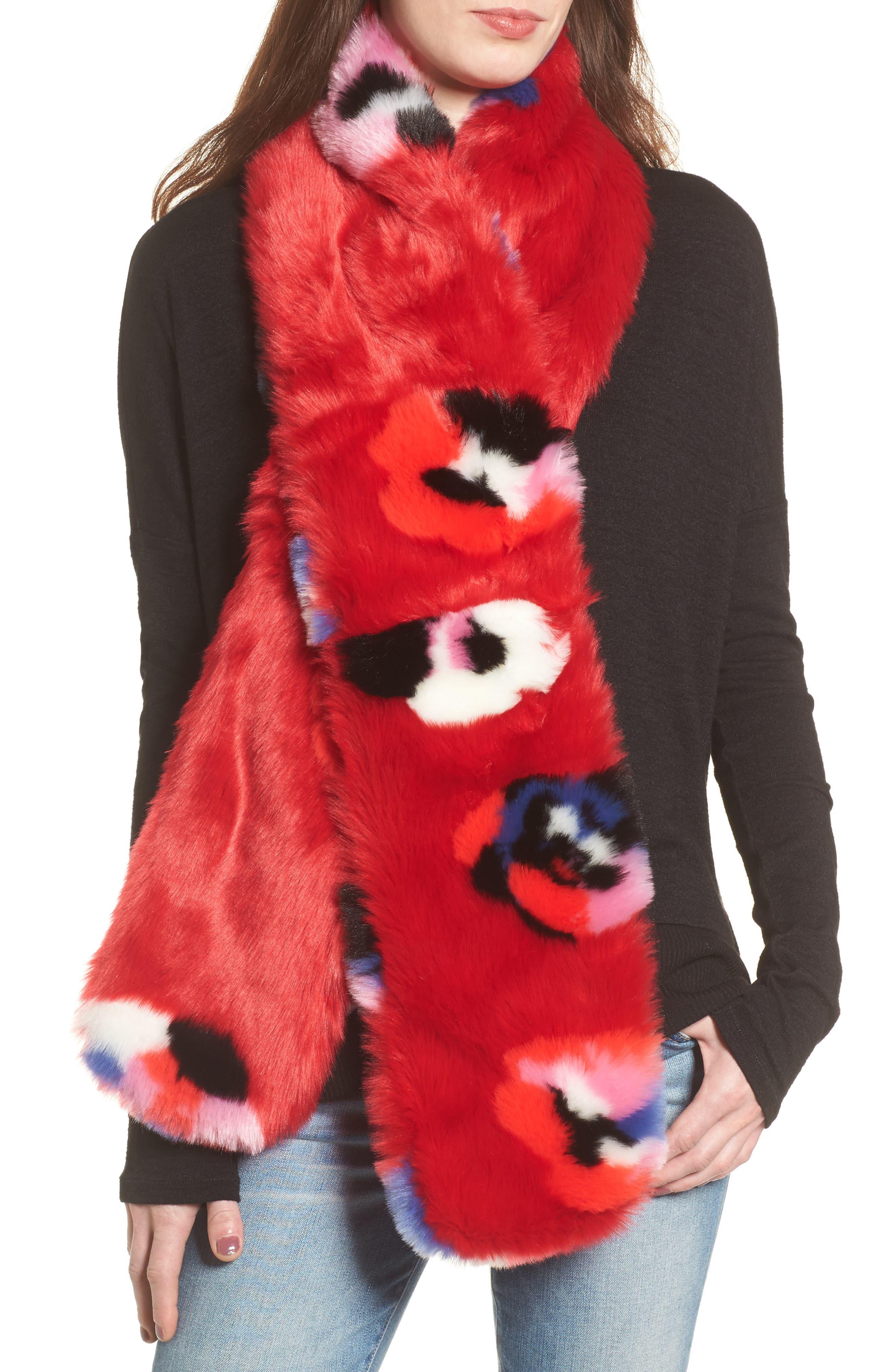 Floral Faux Fur Stole,                             Main thumbnail 1, color,                             Red Floral