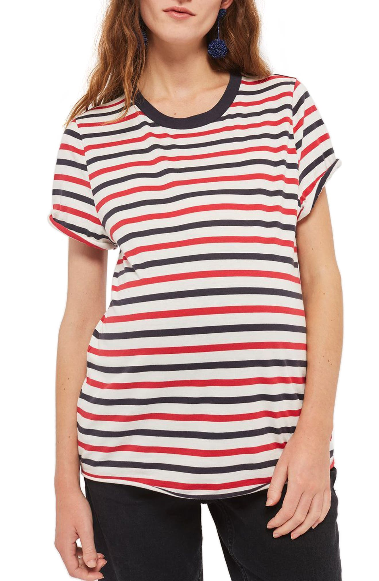 Topshop Striped Roll Back Maternity Tee
