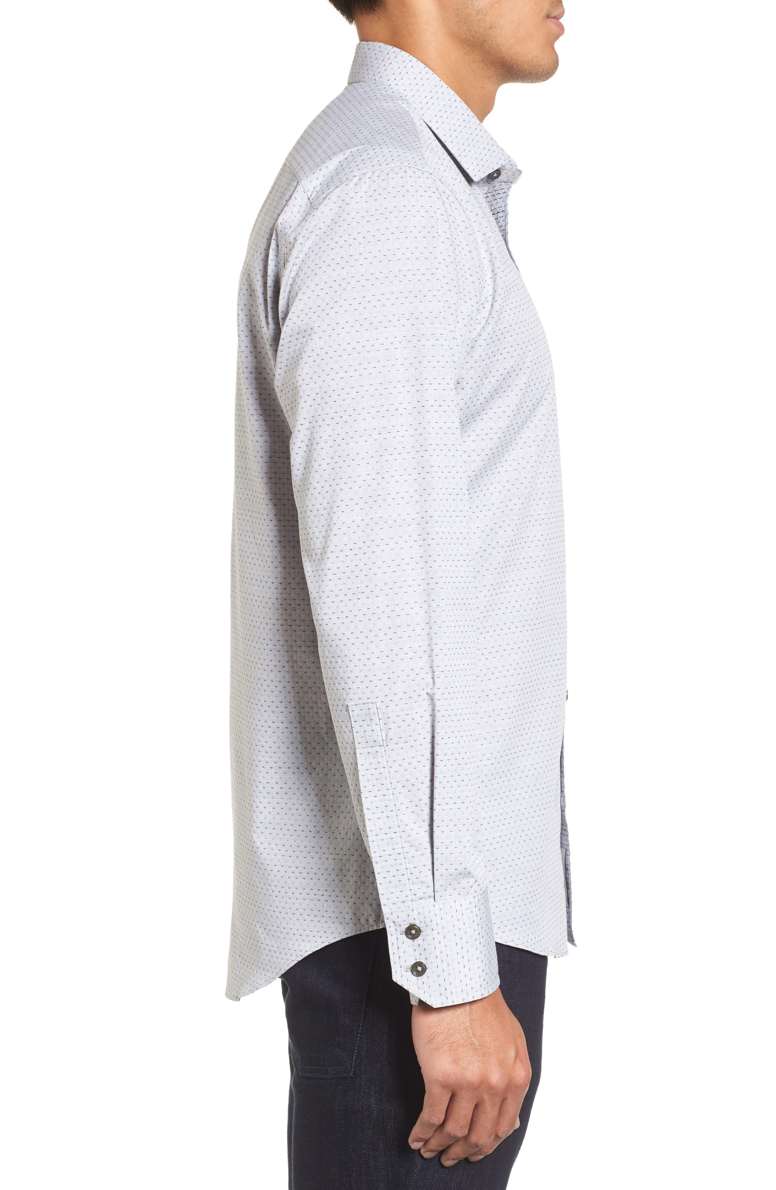 Atila Slim Fit Dobby Woven Sport Shirt,                             Alternate thumbnail 3, color,                             Light Grey