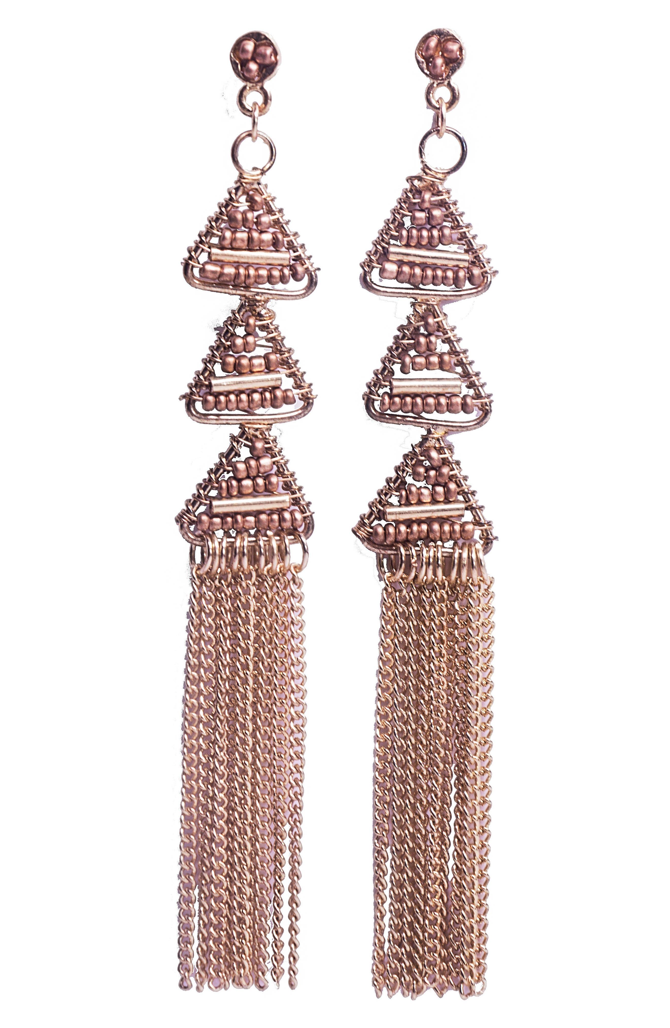 Pyramid Fringe Earrings,                         Main,                         color, Gold
