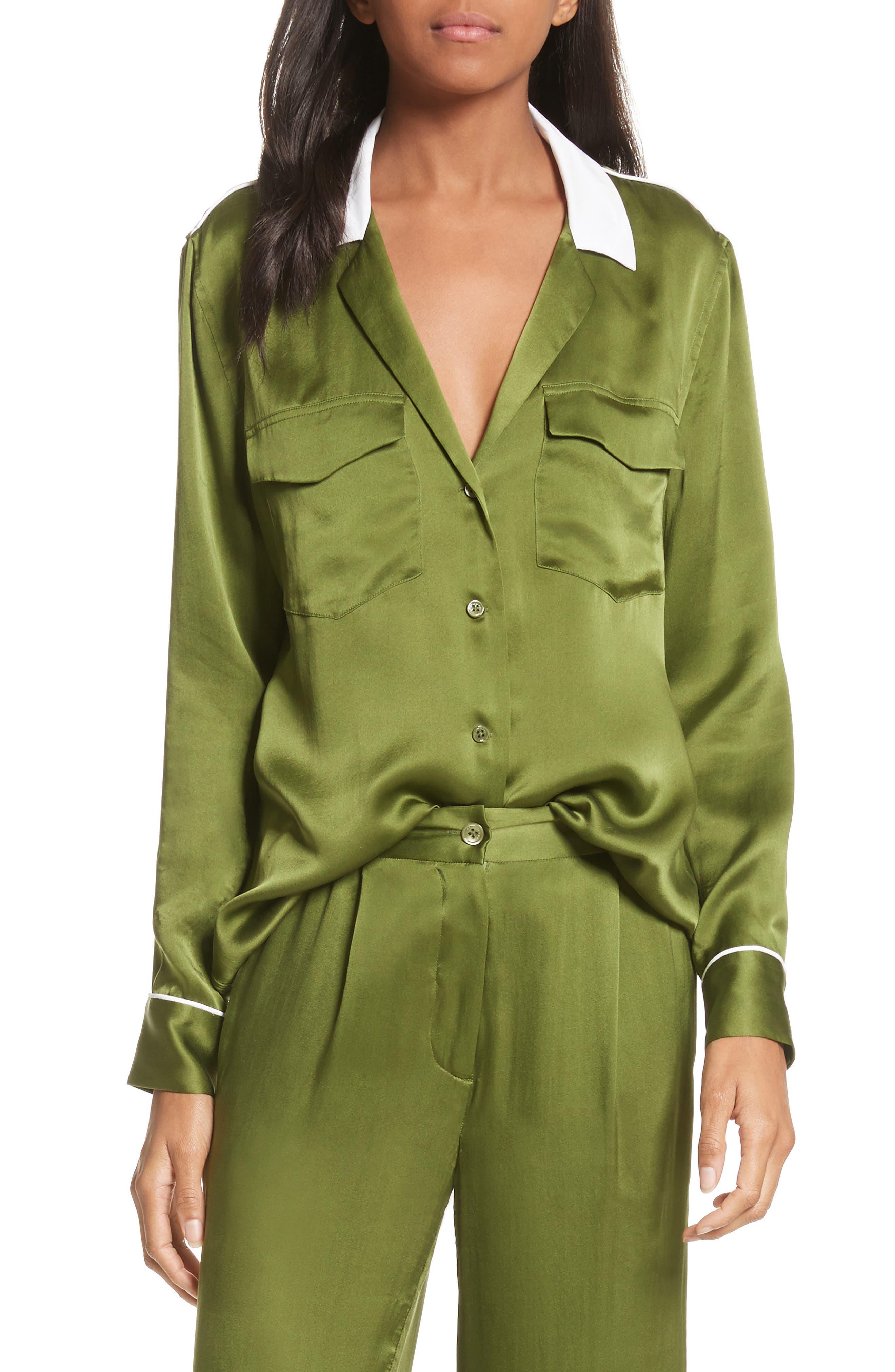 Ansley Print Silk Shirt,                             Main thumbnail 1, color,                             Combat Green