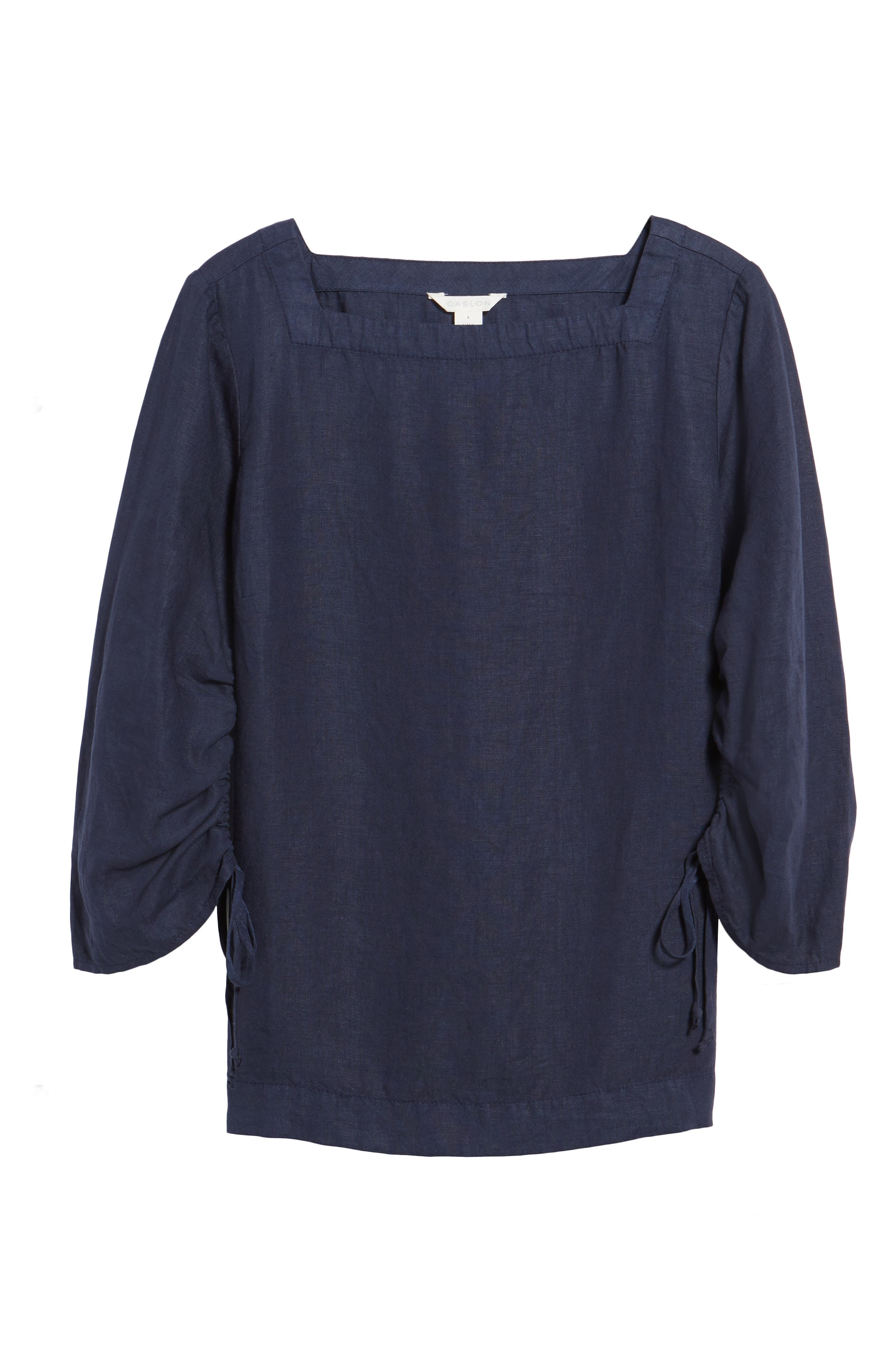 Ruched Sleeve Linen Pullover,                             Alternate thumbnail 6, color,                             Navy Peacoat
