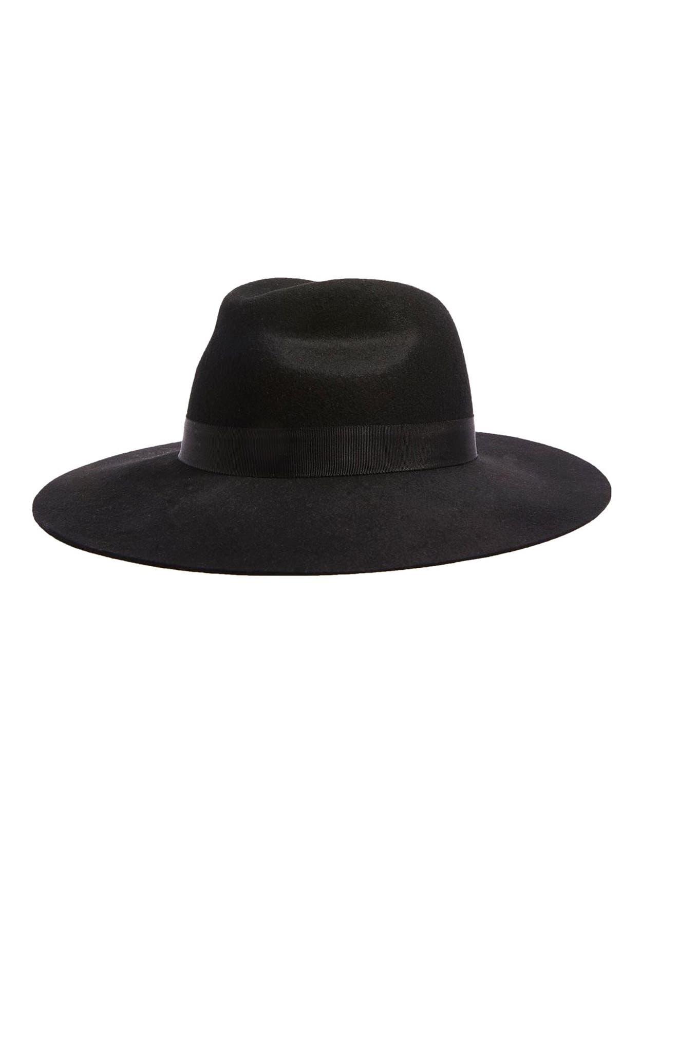 Wide Brim Wool Fedora,                         Main,                         color, Black