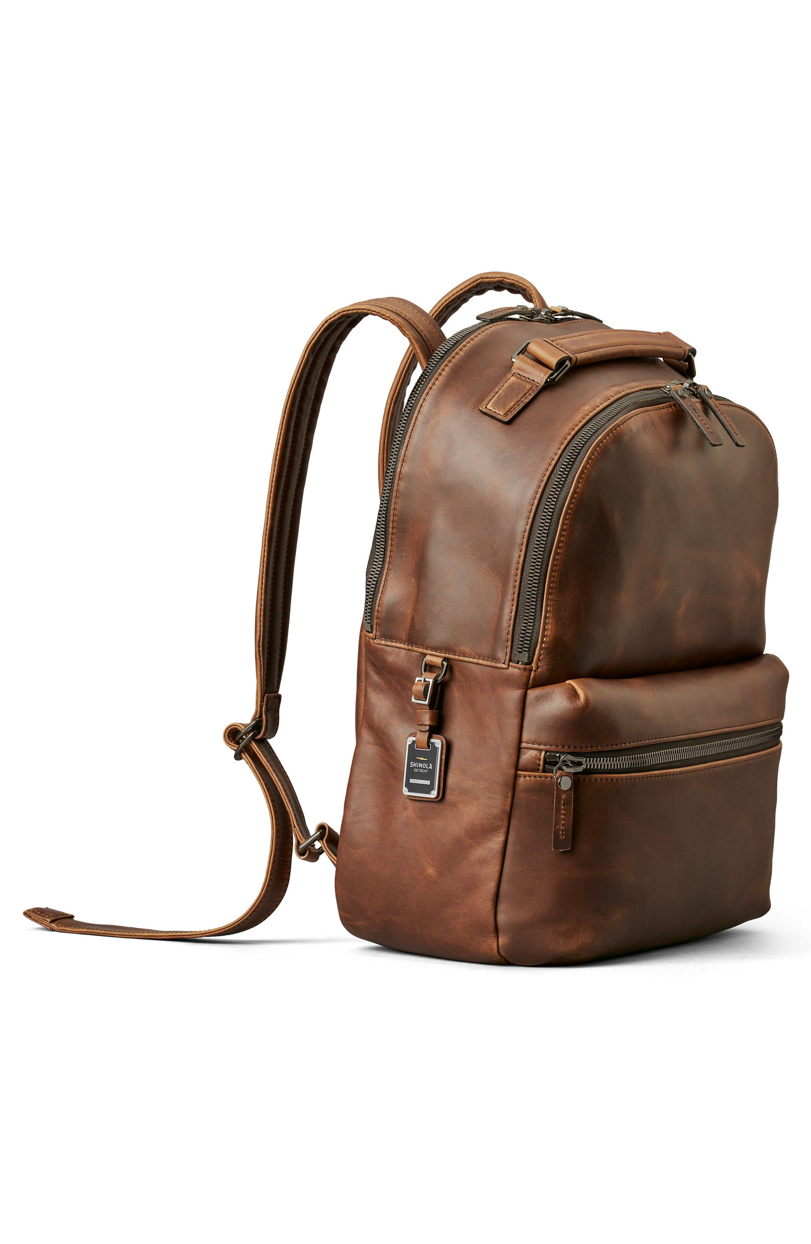 Runwell Leather Backpack,                             Alternate thumbnail 4, color,                             Medium Brown