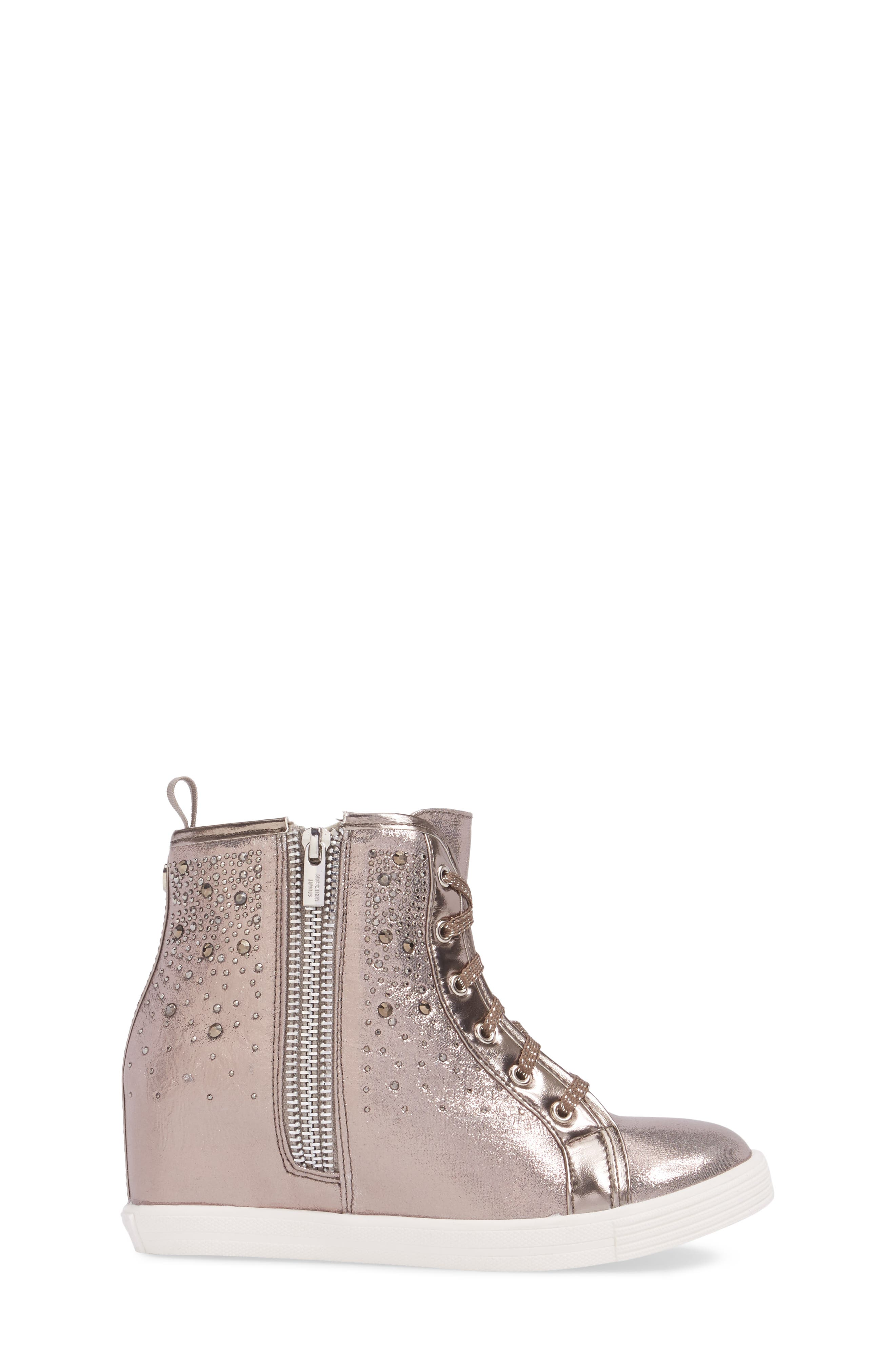 Vance Double Embellished Concealed Wedge High Top,                             Alternate thumbnail 3, color,                             Pewter