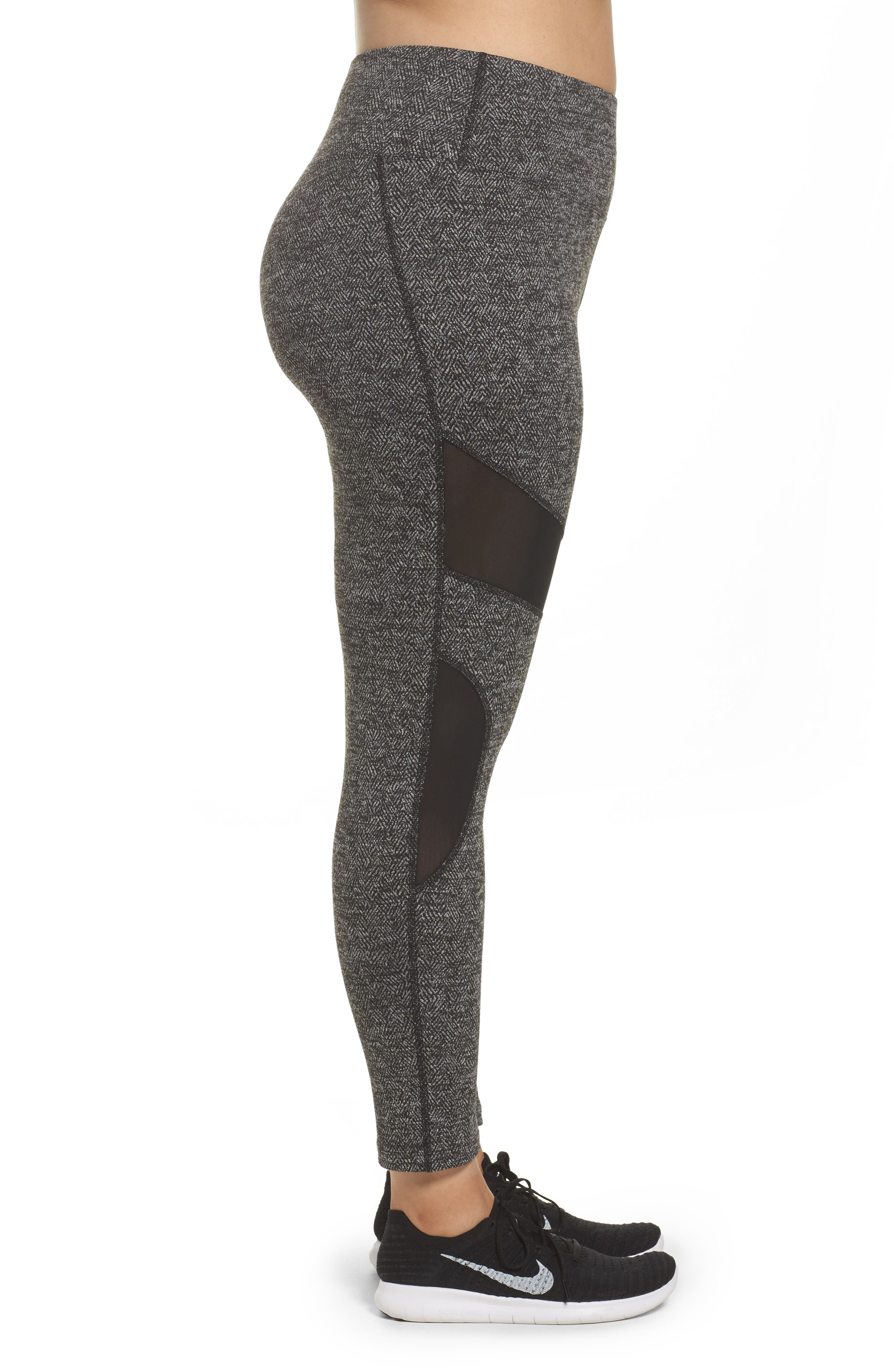 Optic High Waist Leggings,                             Alternate thumbnail 3, color,                             Black