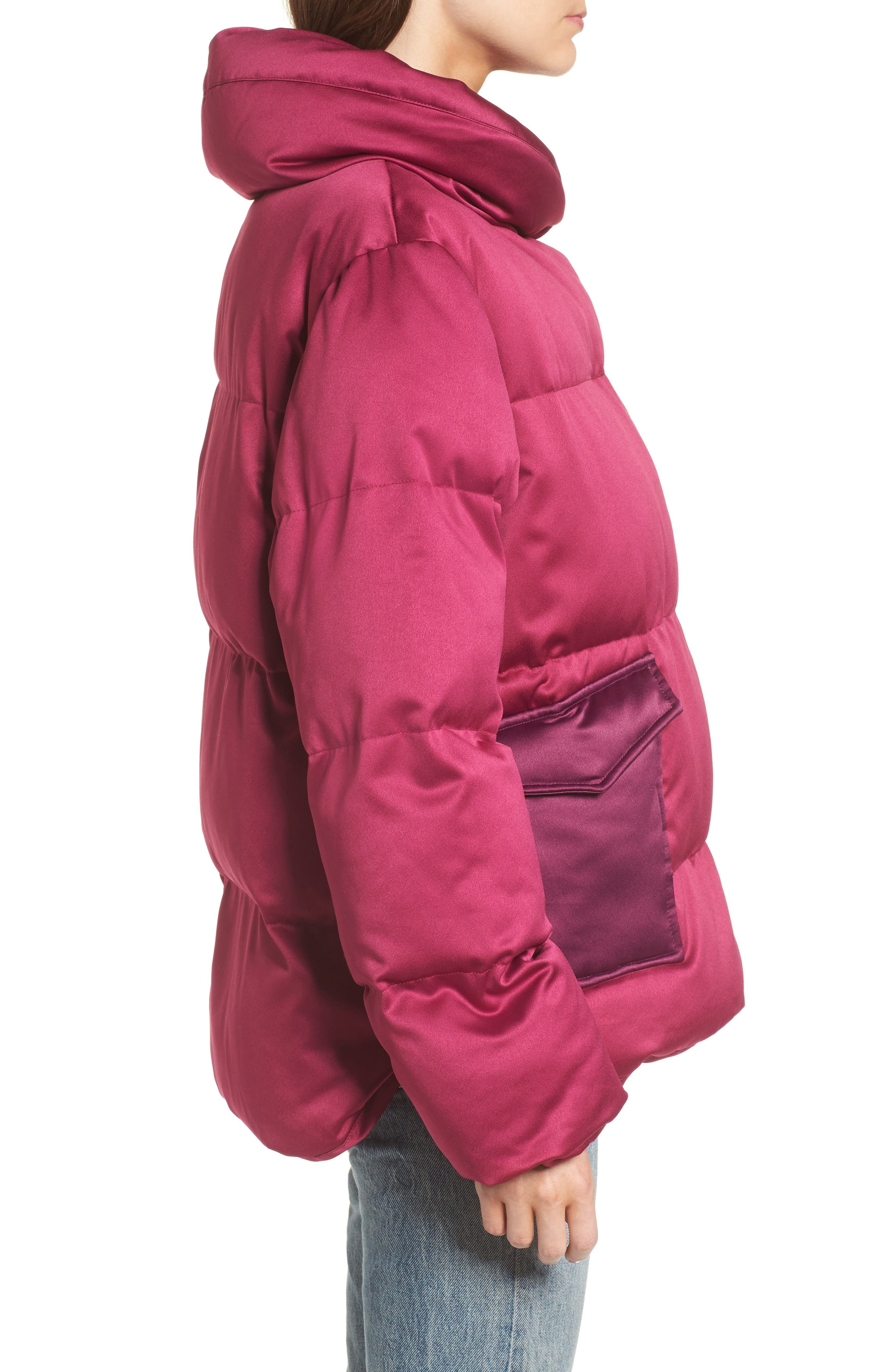 Satin Puffer Jacket,                             Alternate thumbnail 3, color,                             Bright Pink