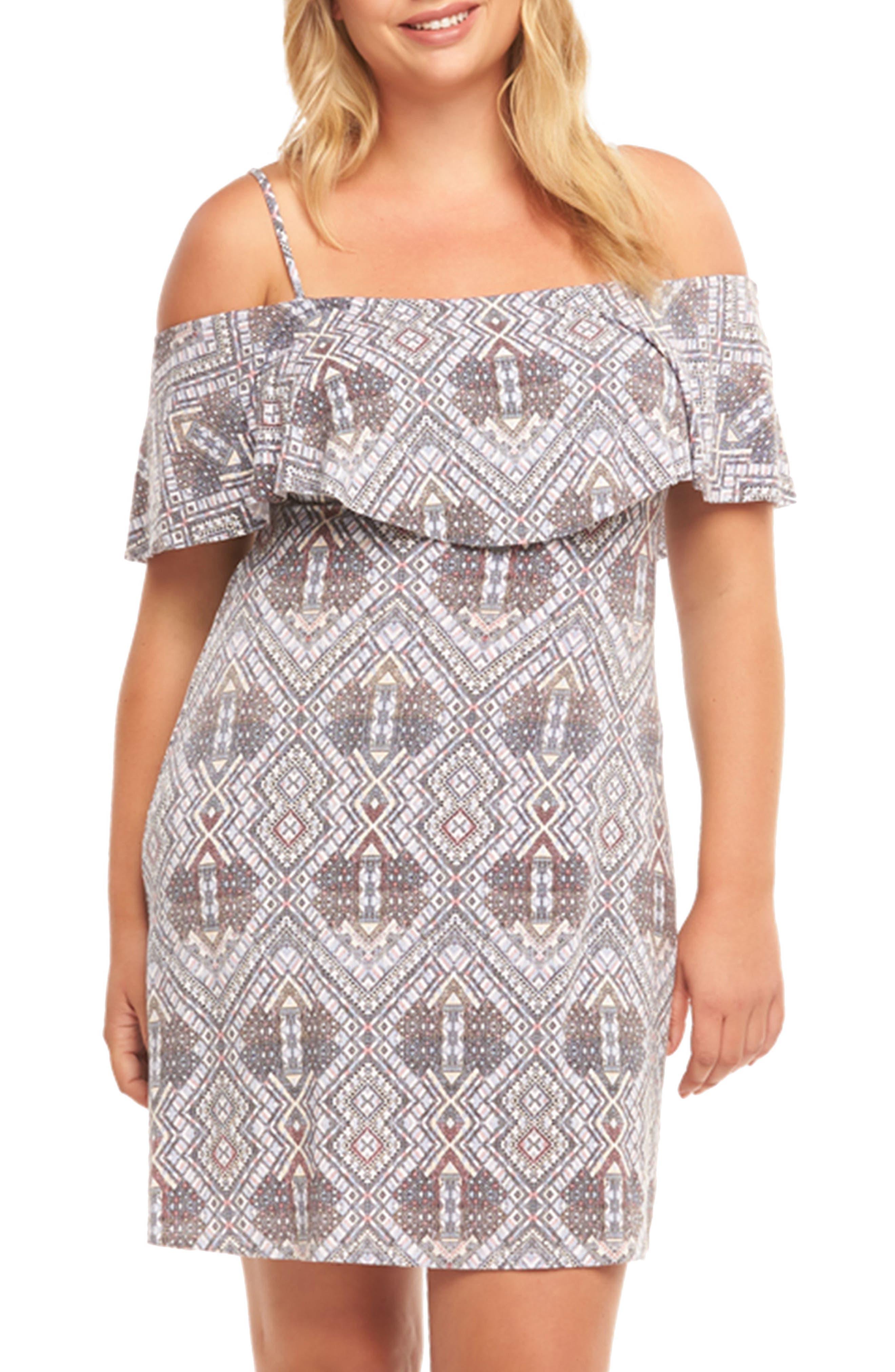 Tacita Ruffle Bodice Cold Shoulder Dress,                         Main,                         color, Multi Geo Lattice Swatch