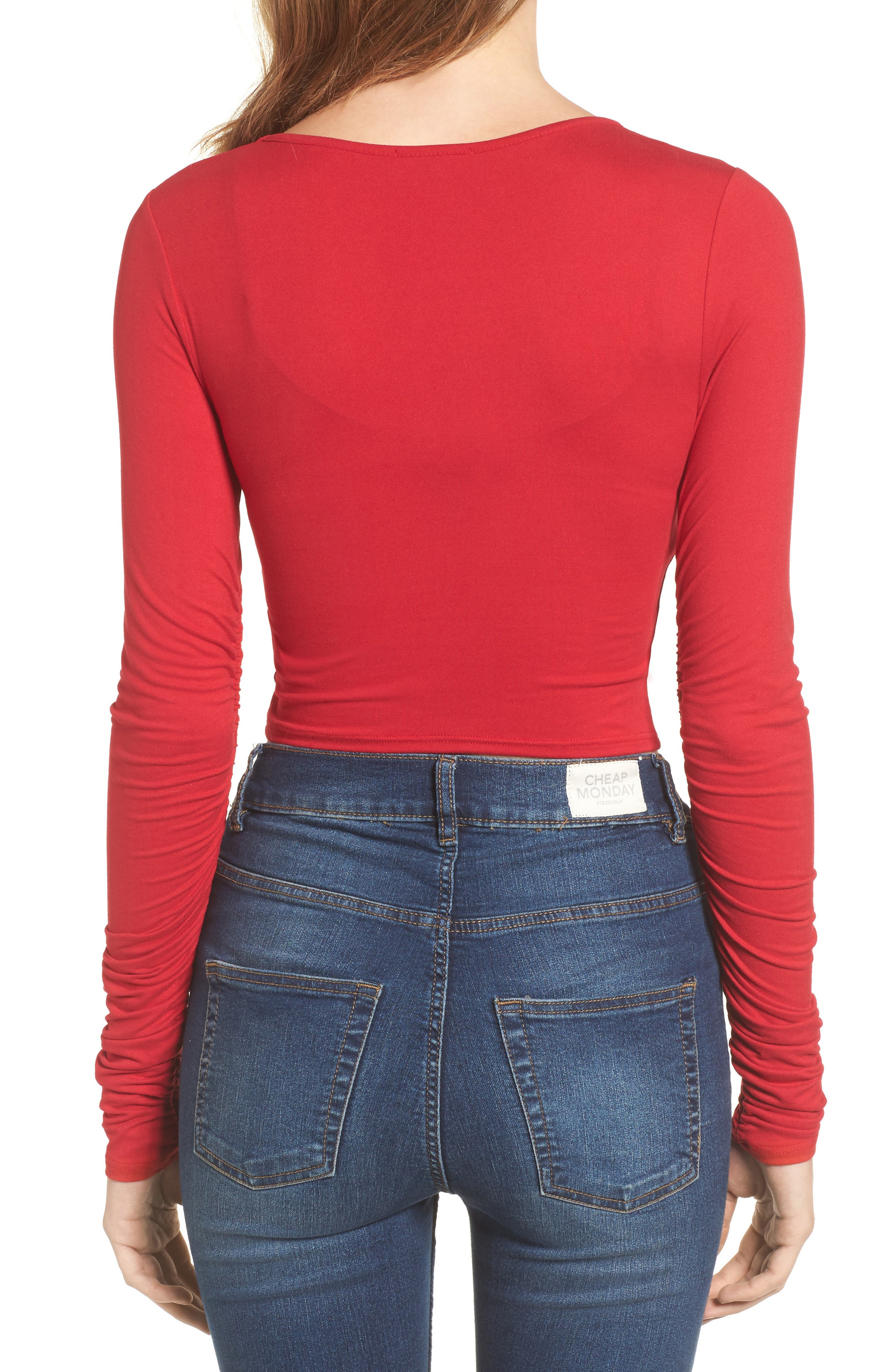 Ruched Sleeve Crop Tee,                             Alternate thumbnail 2, color,                             Red