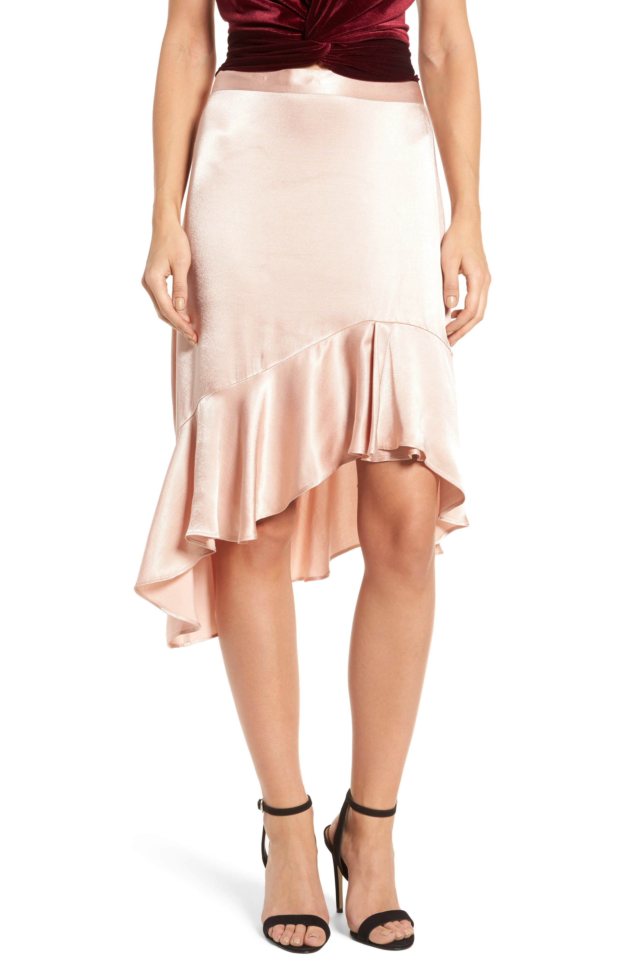 Sateen Ruffle Skirt,                         Main,                         color, Beige Maple