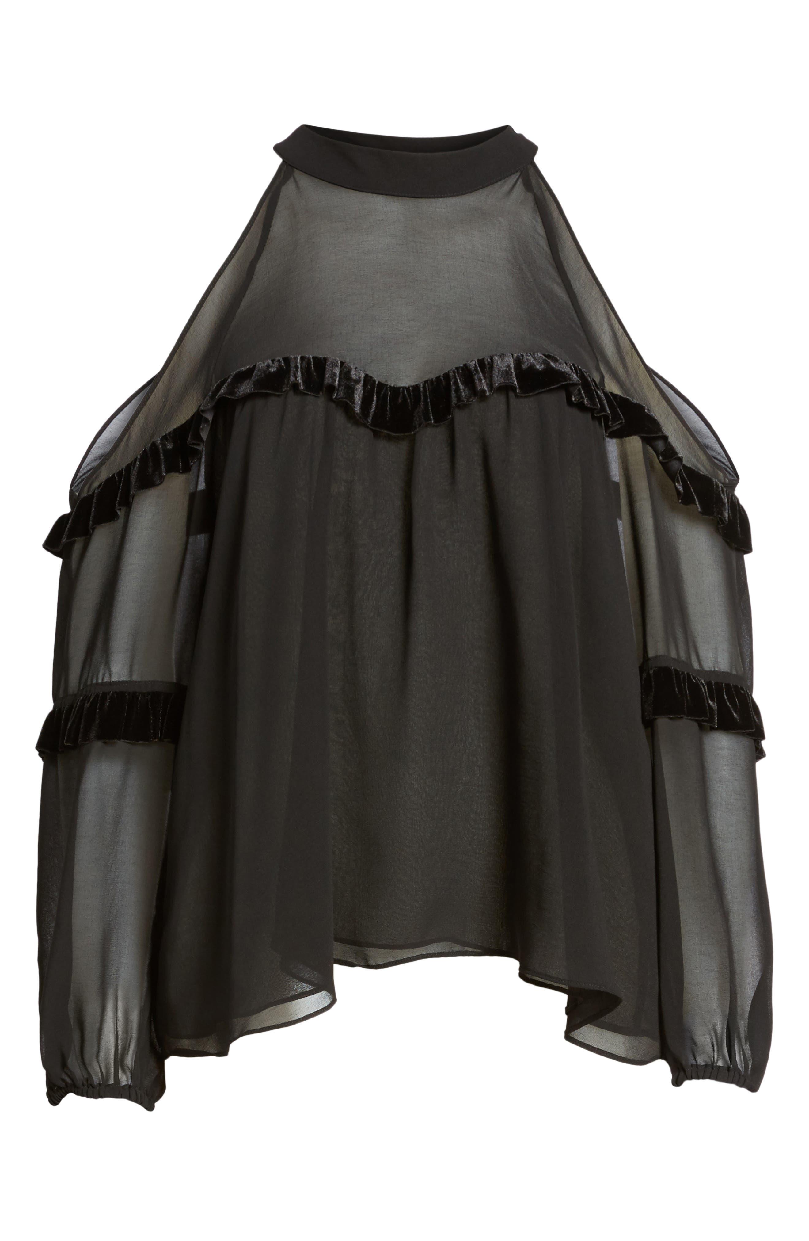 Pippa Cold Shoulder Top,                             Alternate thumbnail 6, color,                             Ink Black