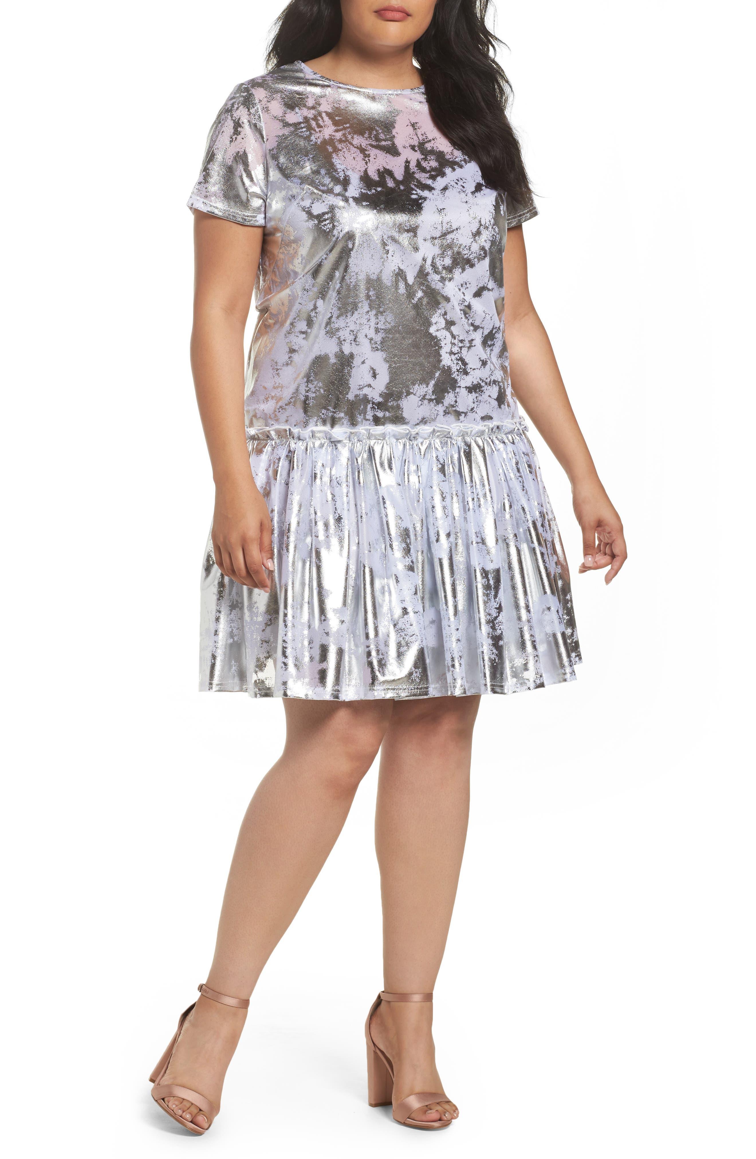 Metallic Swing Dress,                         Main,                         color, Silver