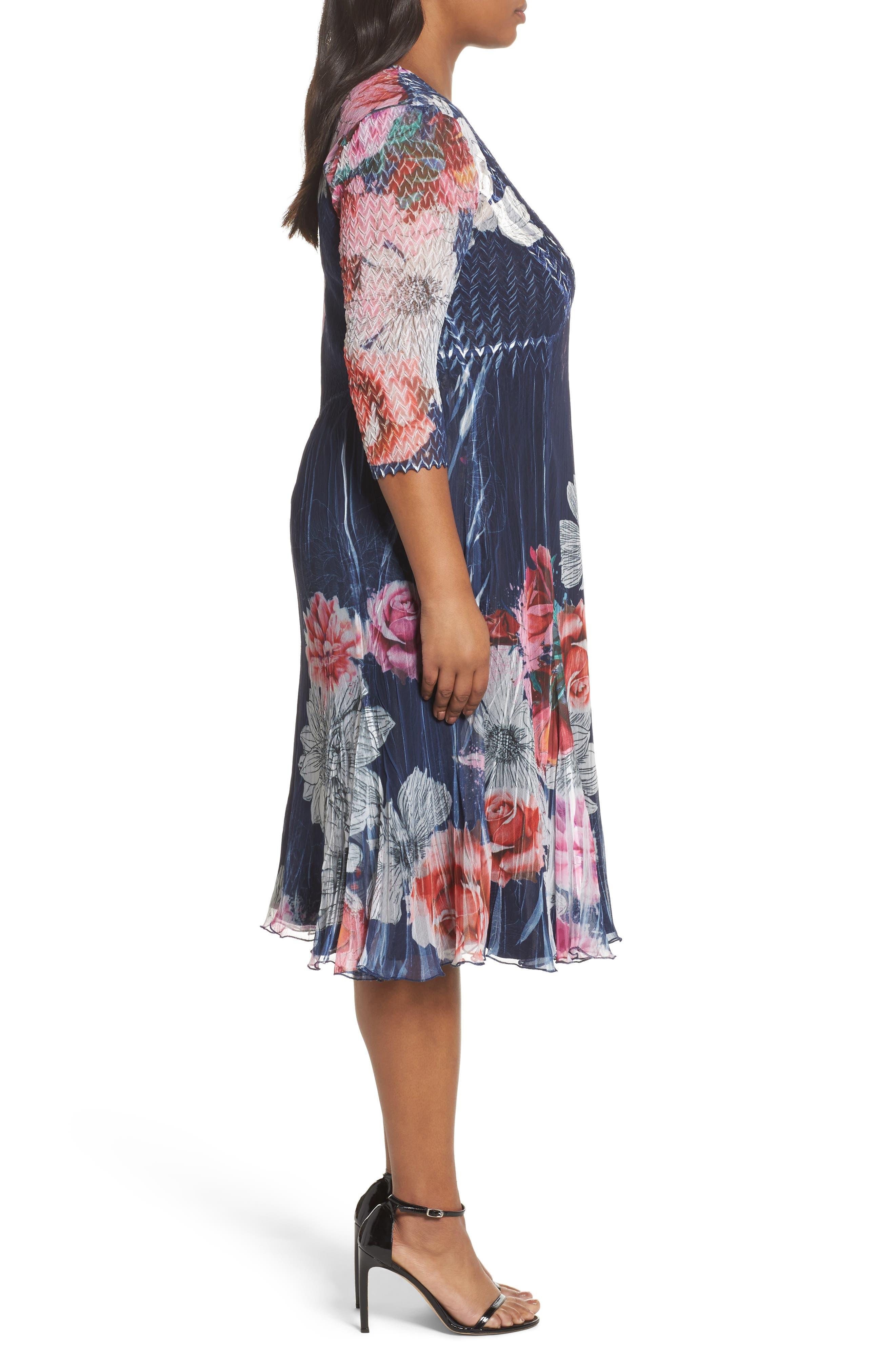 V-Neck Floral Print Chiffon Dress,                             Alternate thumbnail 3, color,                             Watercolor Fields
