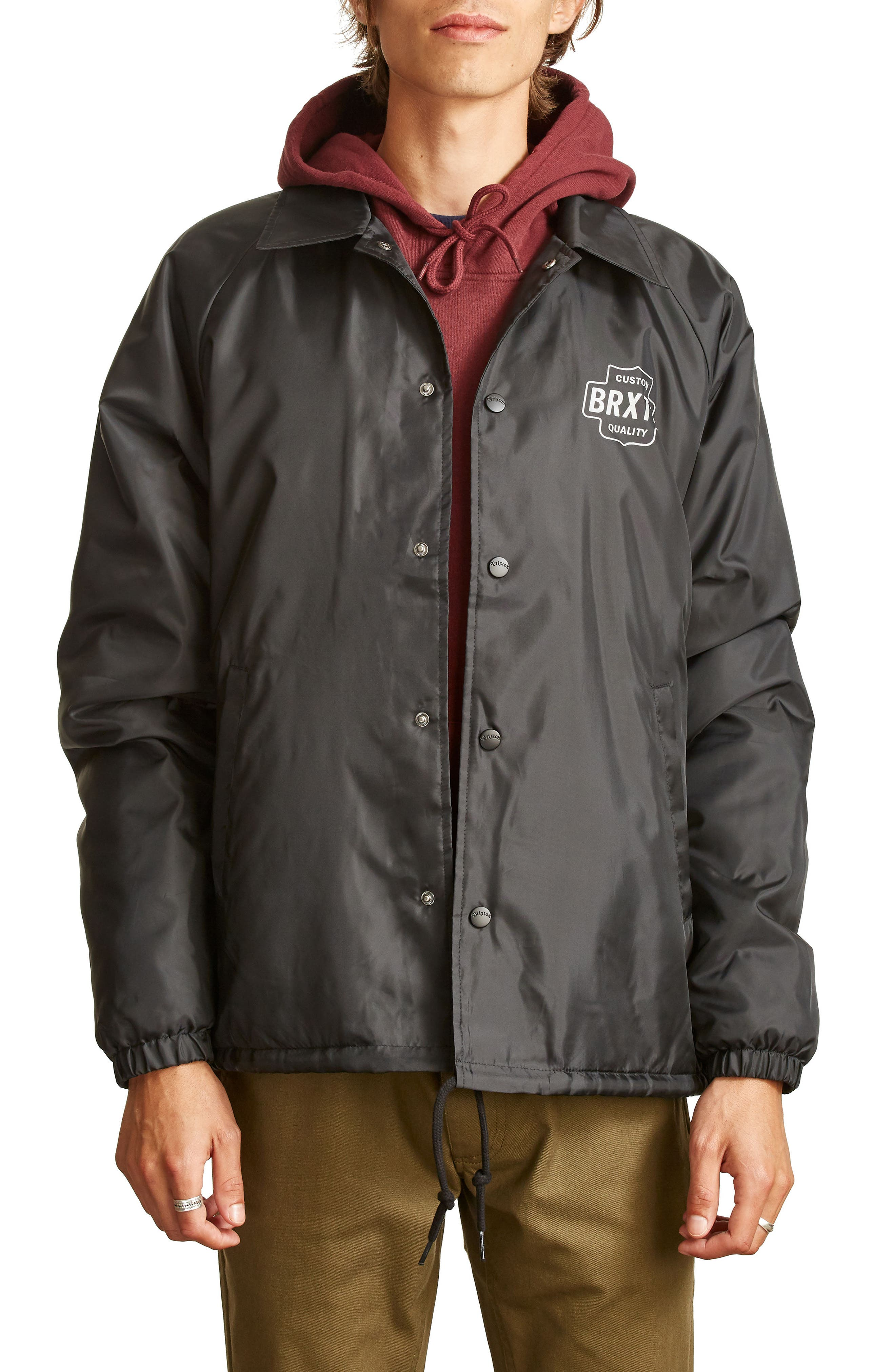 Garth Water Resistant Coach's Jacket,                         Main,                         color, Black/ White