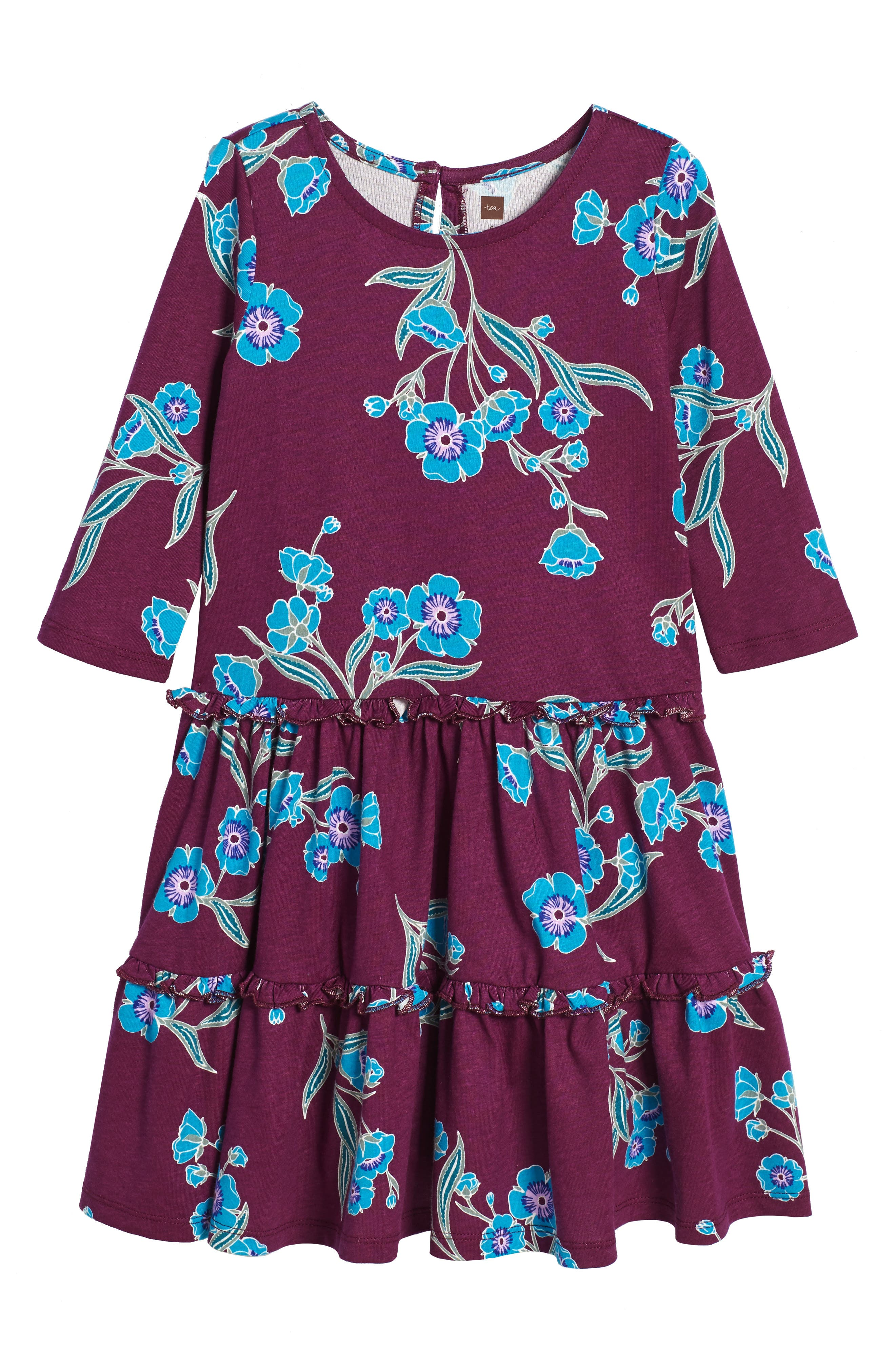 Marjorie Tiered Dress,                         Main,                         color, Cosmic Berry
