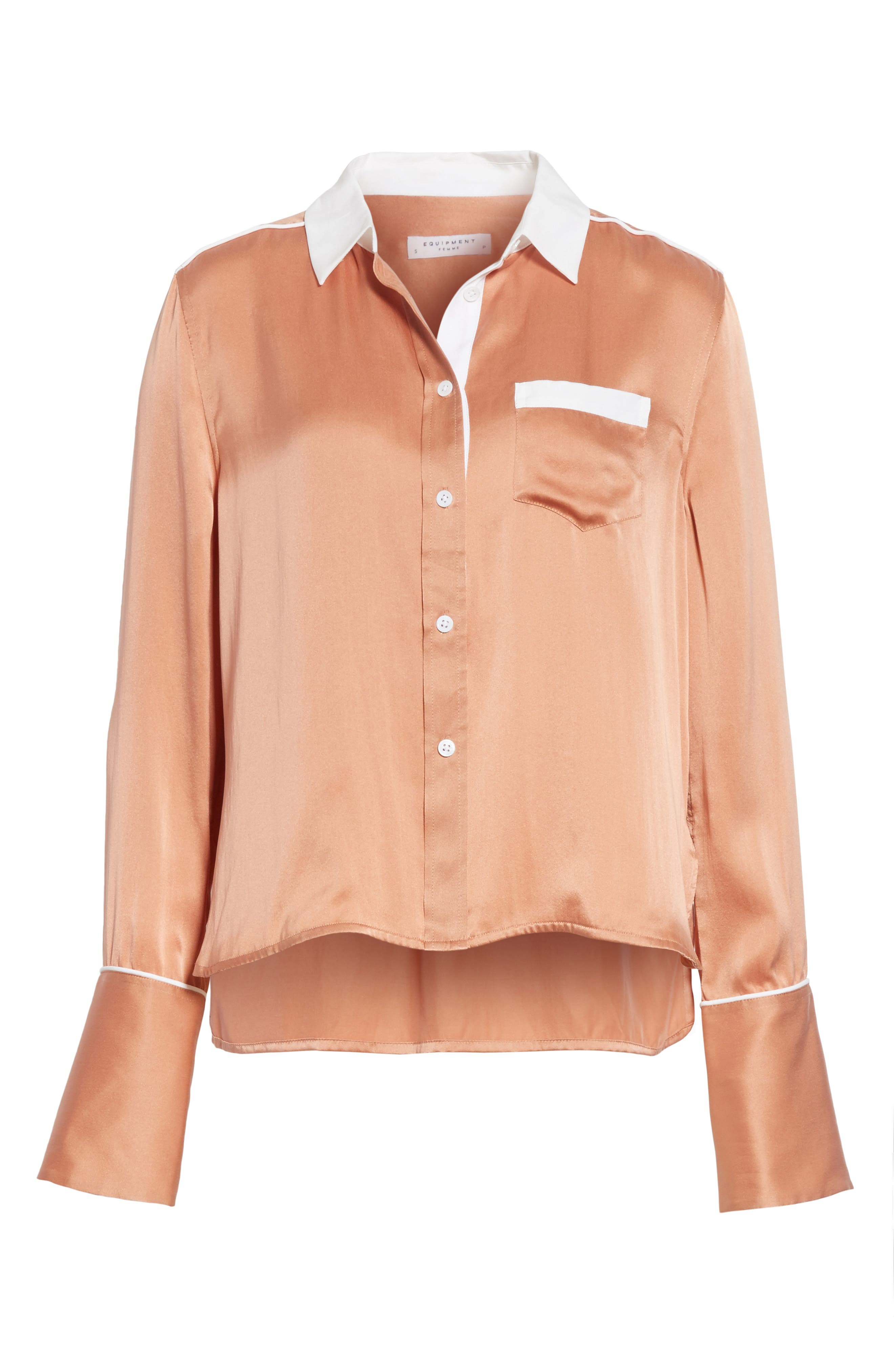 Huntley Contrast Silk Shirt,                             Alternate thumbnail 6, color,                             Wilted Rose