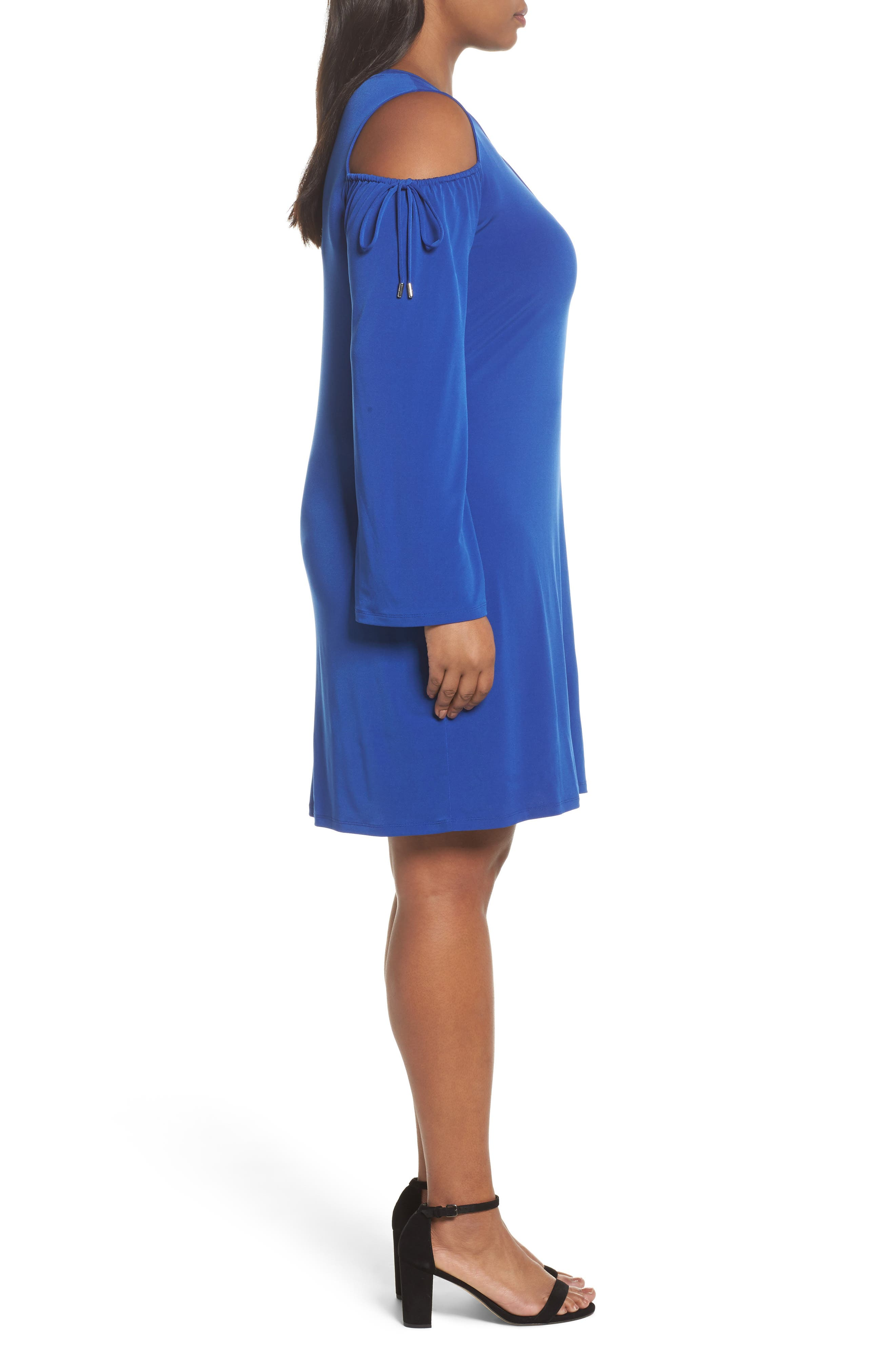 Cold Shoulder Shift Dress,                             Alternate thumbnail 3, color,                             Blue