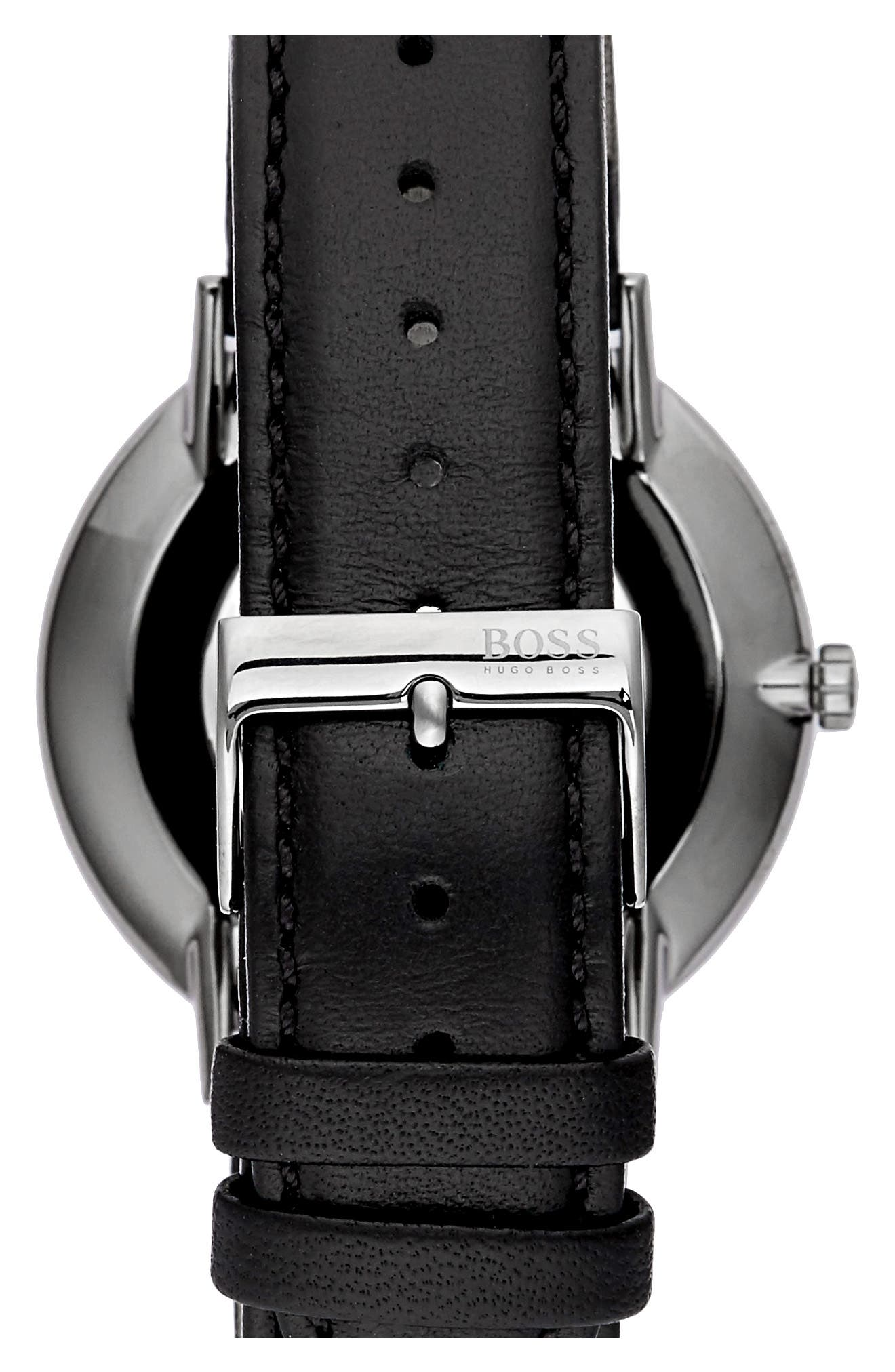 Alternate Image 2  - BOSS Horizon Leather Strap Watch, 40mm