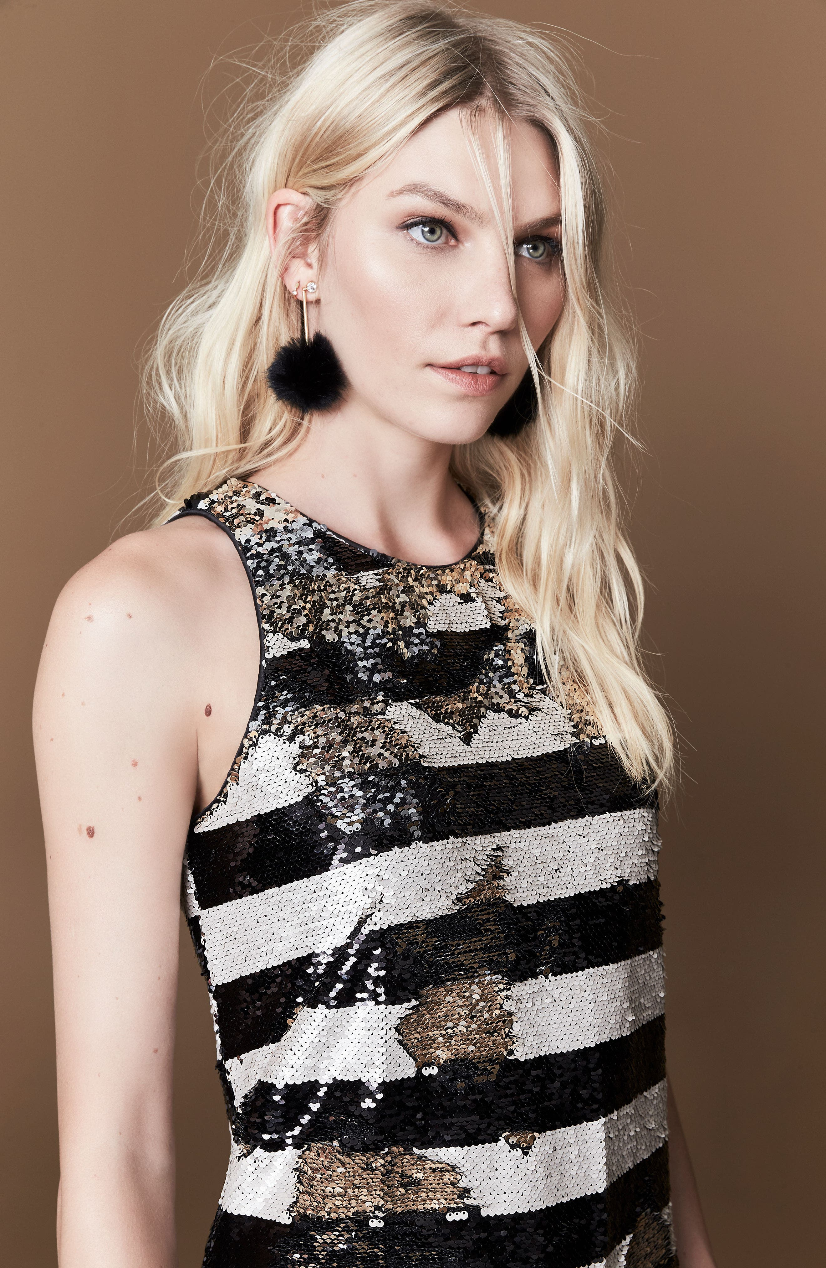Alternate Image 8  - Eliza J Reversible Stripe Sequin Shift Dress