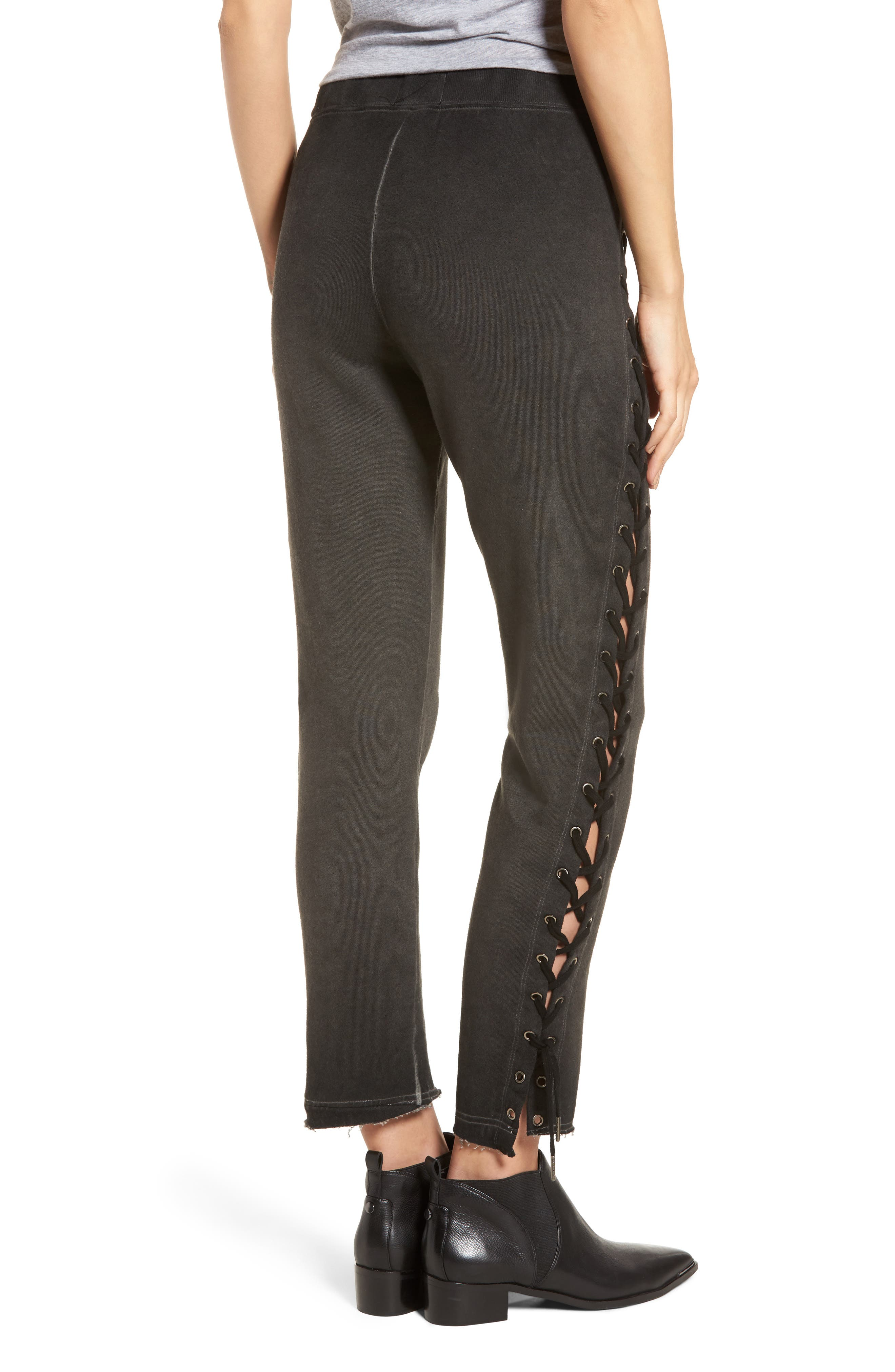 Lace-Up Sweatpants,                             Alternate thumbnail 2, color,                             Oil Wash Black