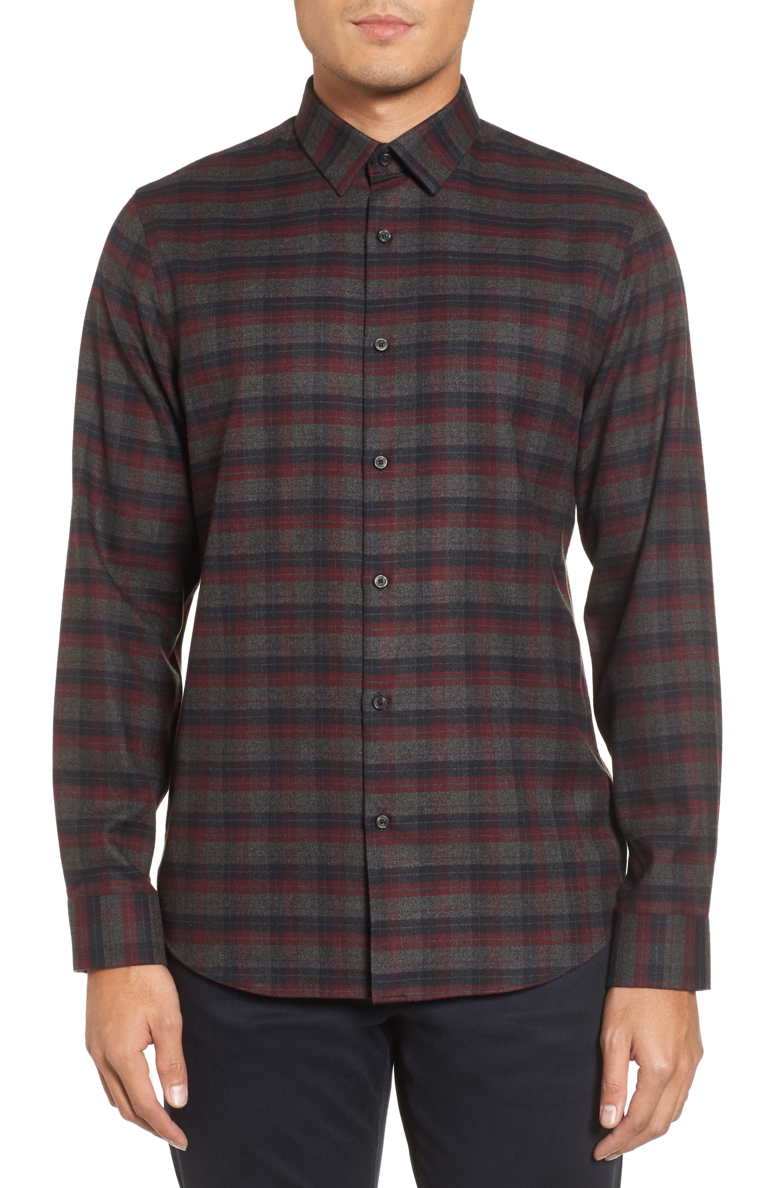 Check Flannel Sport Shirt,                         Main,                         color, Grey Magnet Burdundy Plaid